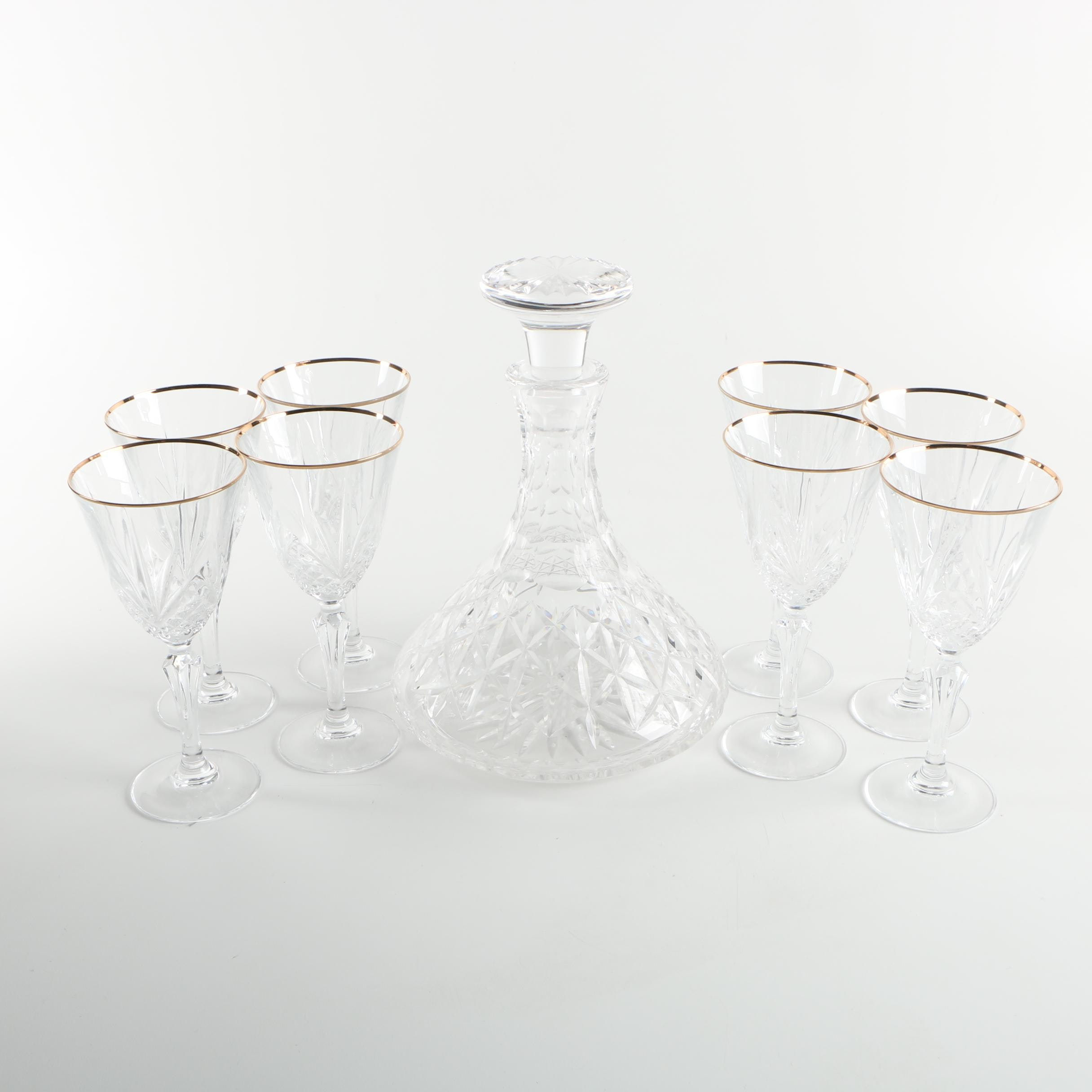 Crystal Decanter and Crystal Wine Glasses