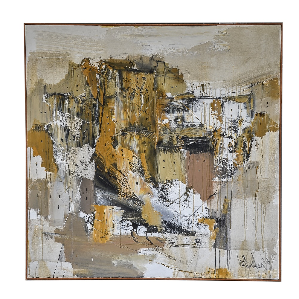 Gino Hollander 1978 Oil on Canvas Abstract Painting