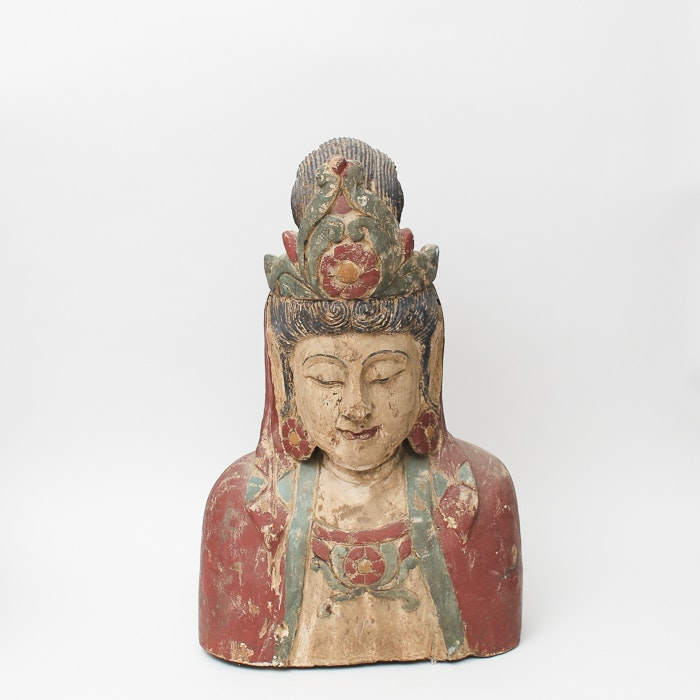 Vintage Tibetan Style Hand Painted Wood Carving of Buddha
