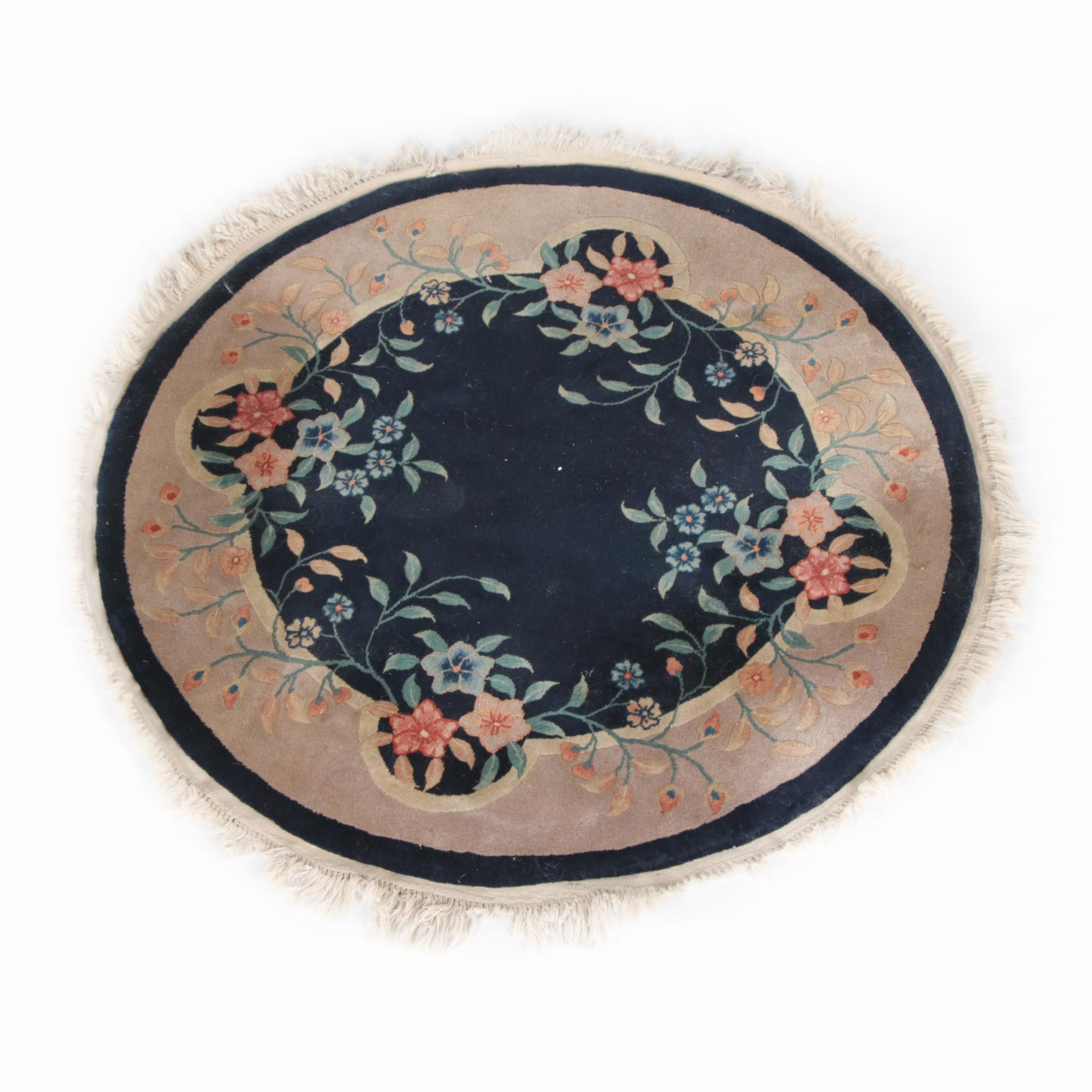 Hand-Knotted Chinese Carved Round Wool Area Rug