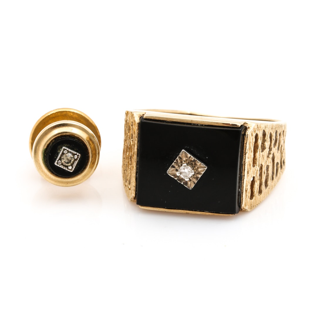 14K Yellow Gold Diamond and Onyx Ring and Gold Tone Tie Tack