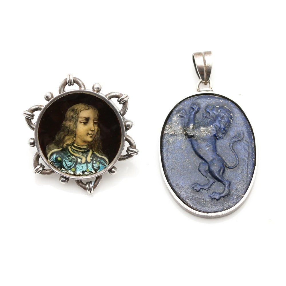 Victorian 800 Silver Painted Enamel Brooch and Sterling Silver Pendant