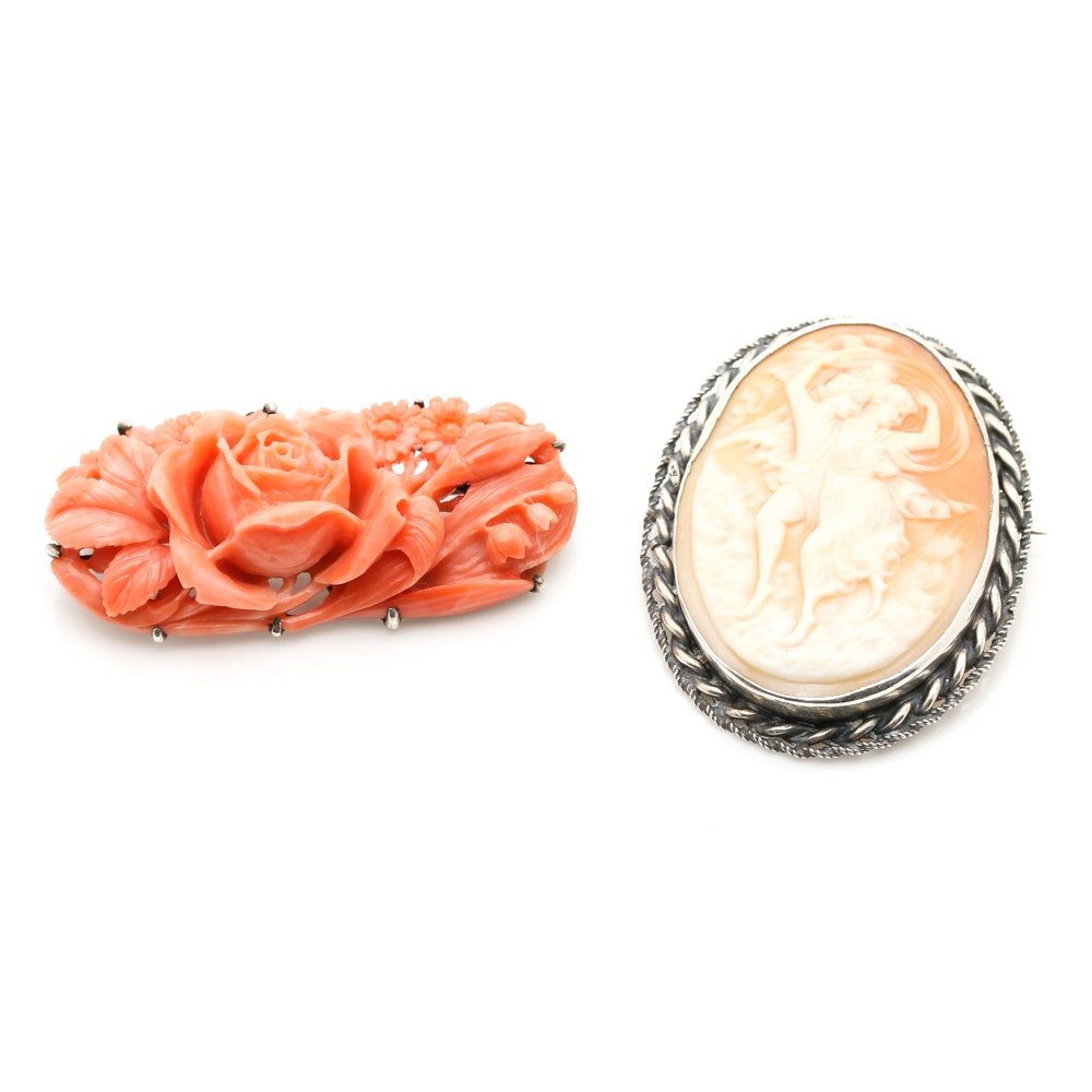 Vintage Sterling Silver Carved Coral and Shell Brooches