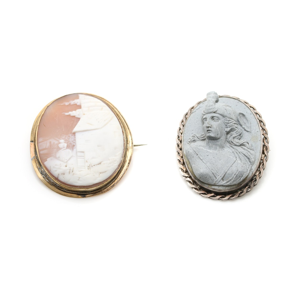 Victorian Brooches Including Sterling Silver