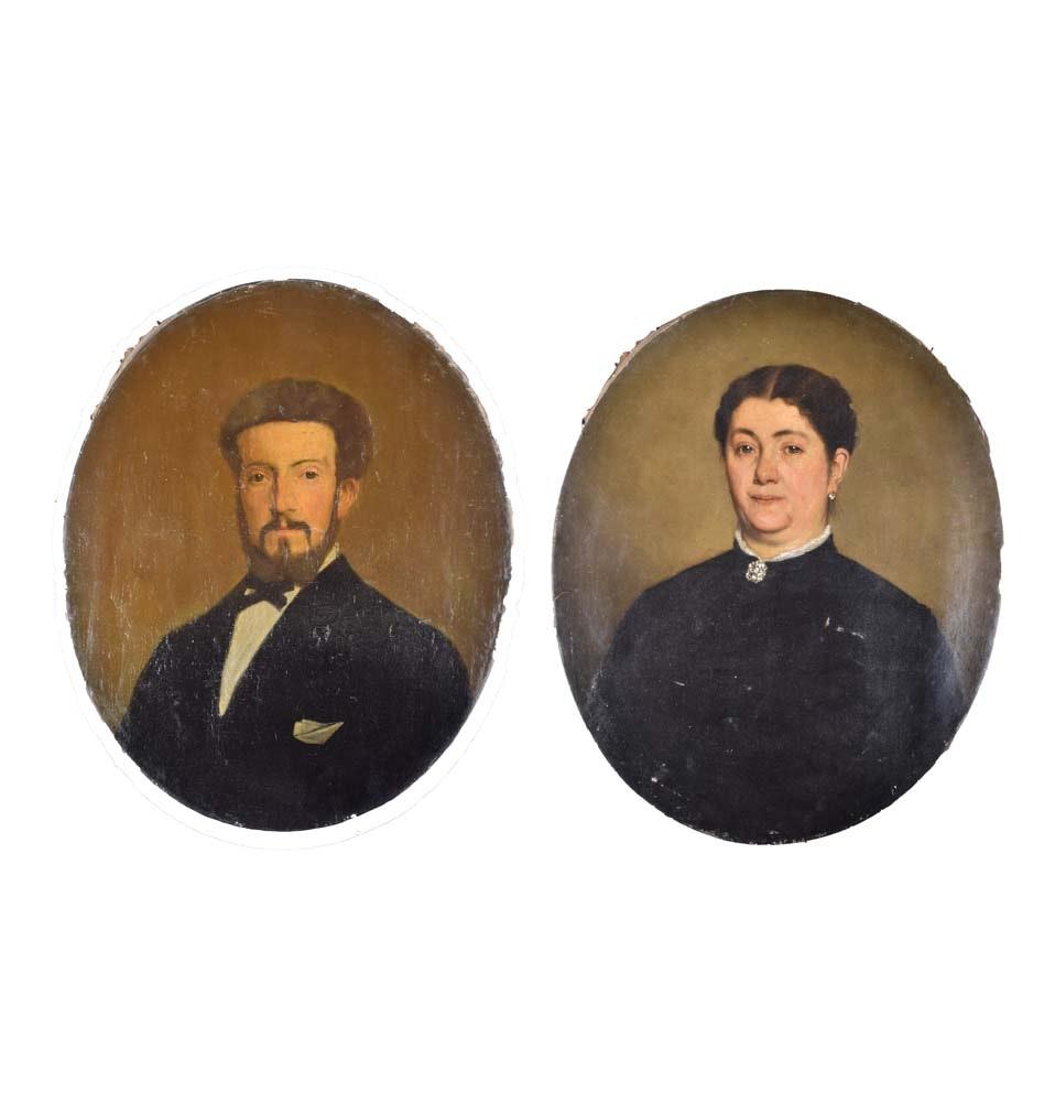 Antique Oil Portraits on Canvas