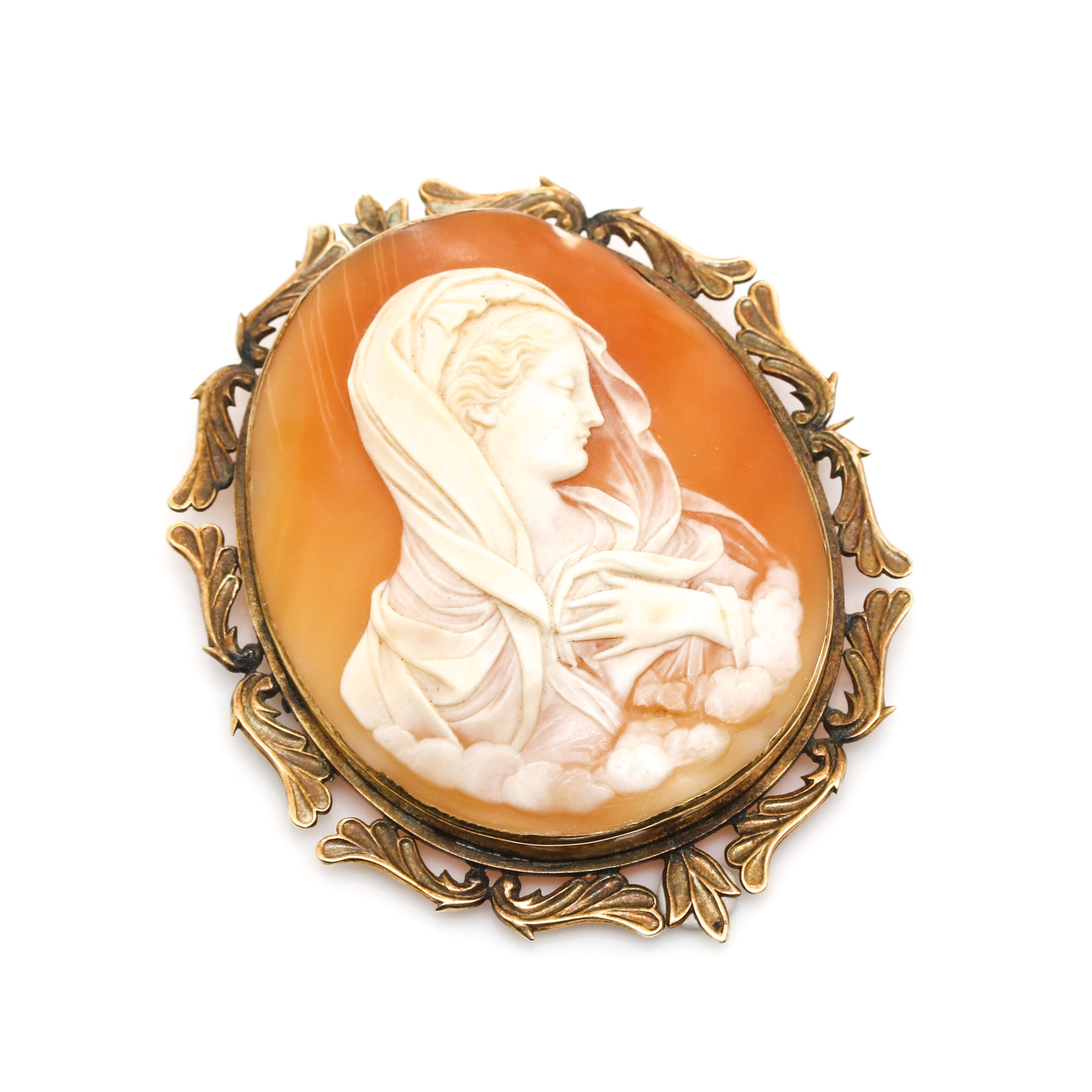Victorian 14K Yellow Gold and Rolled Gold Shell Cameo Brooch