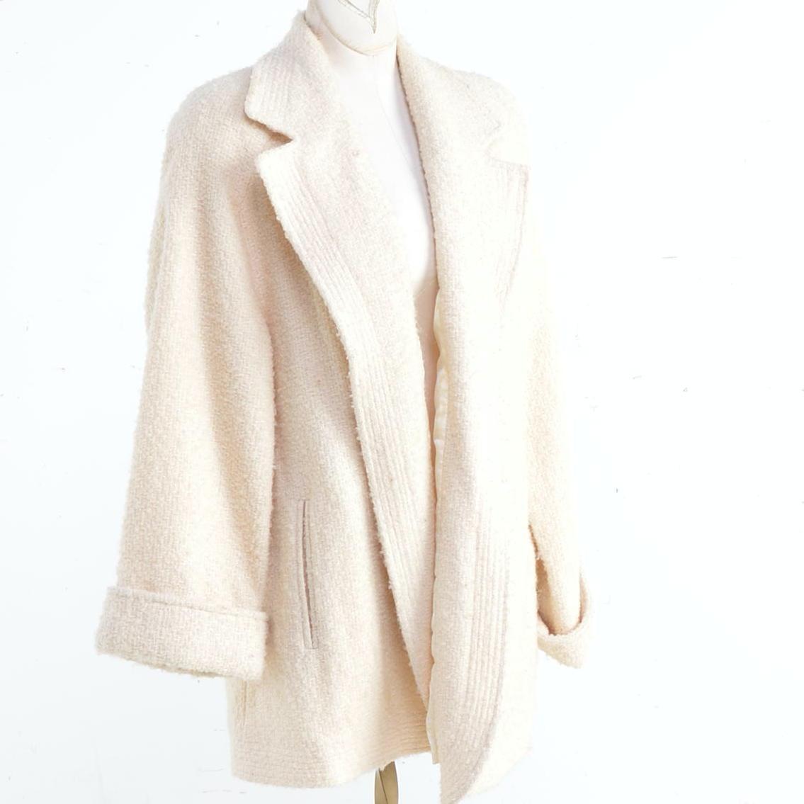 Vintage Dumas Short White Swing Coat