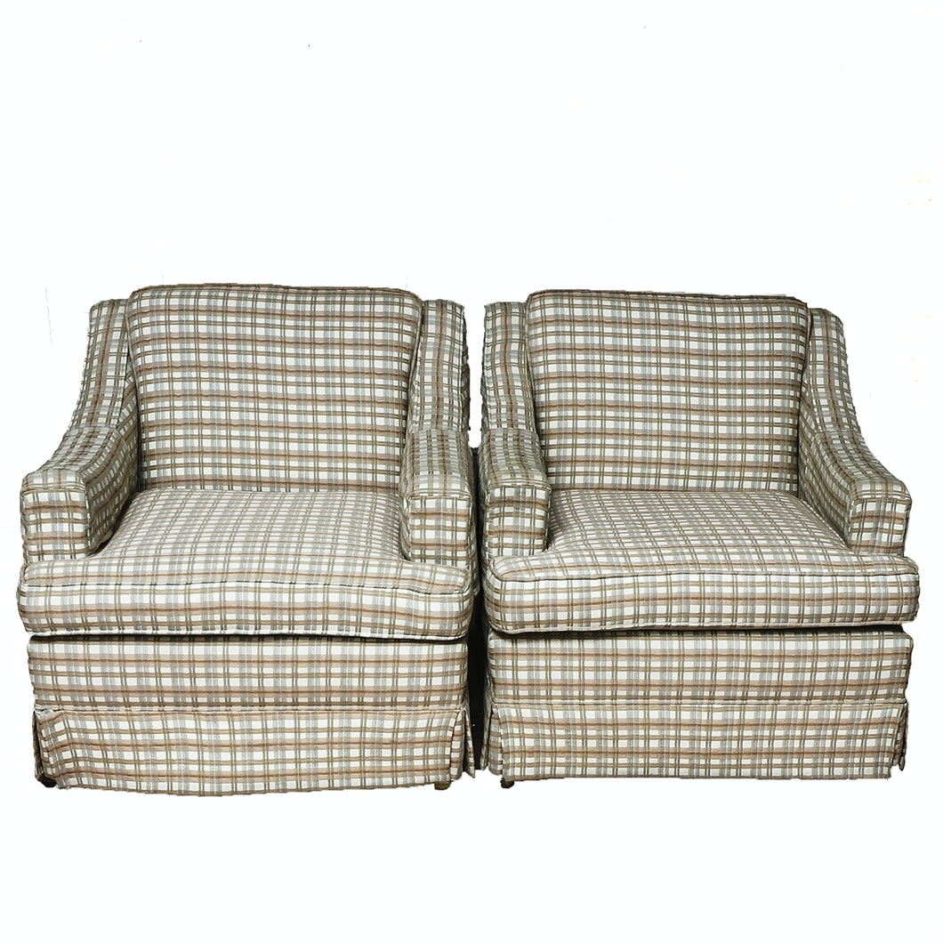 Pair of Checked Club Chairs