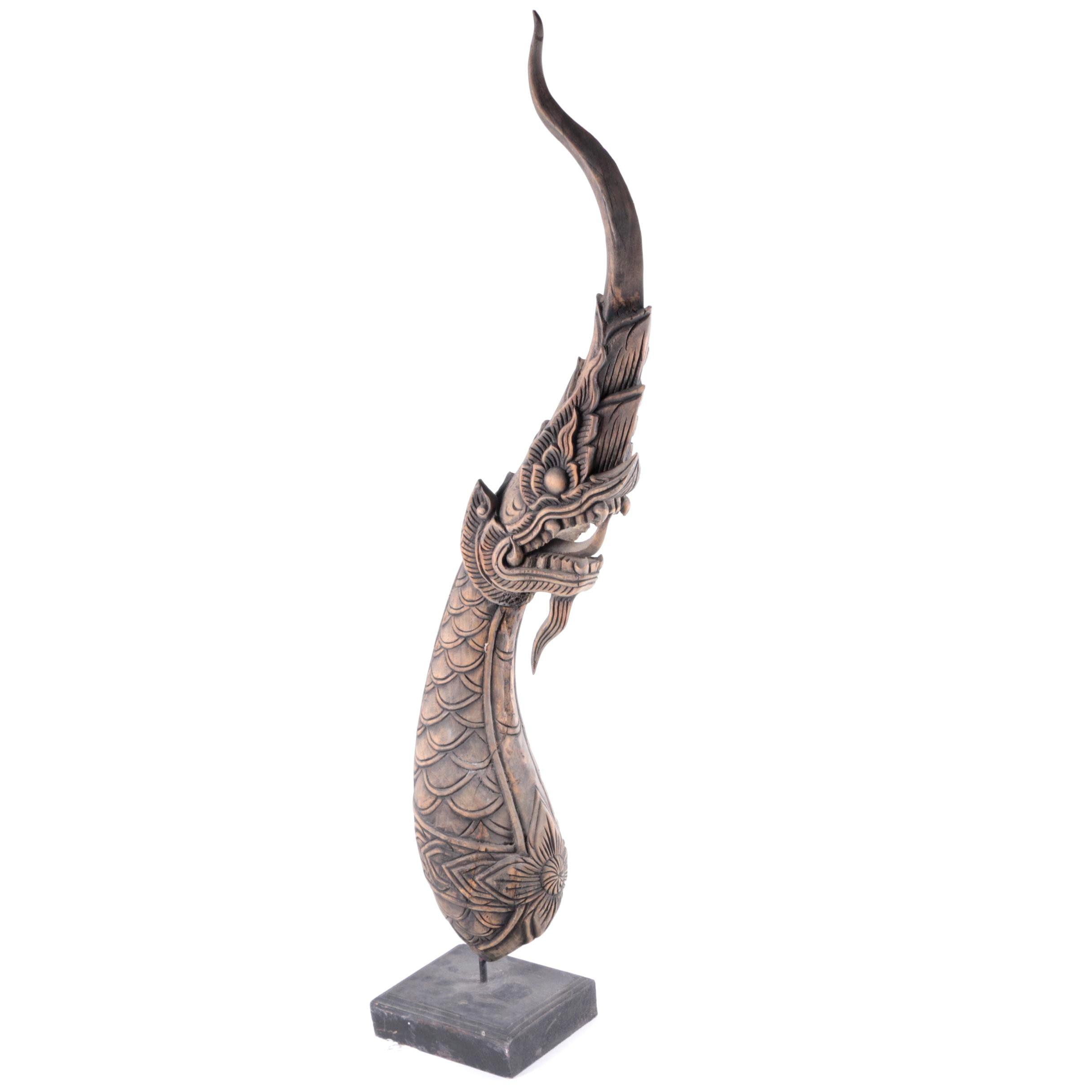 Thai Wood Carving of a Naga