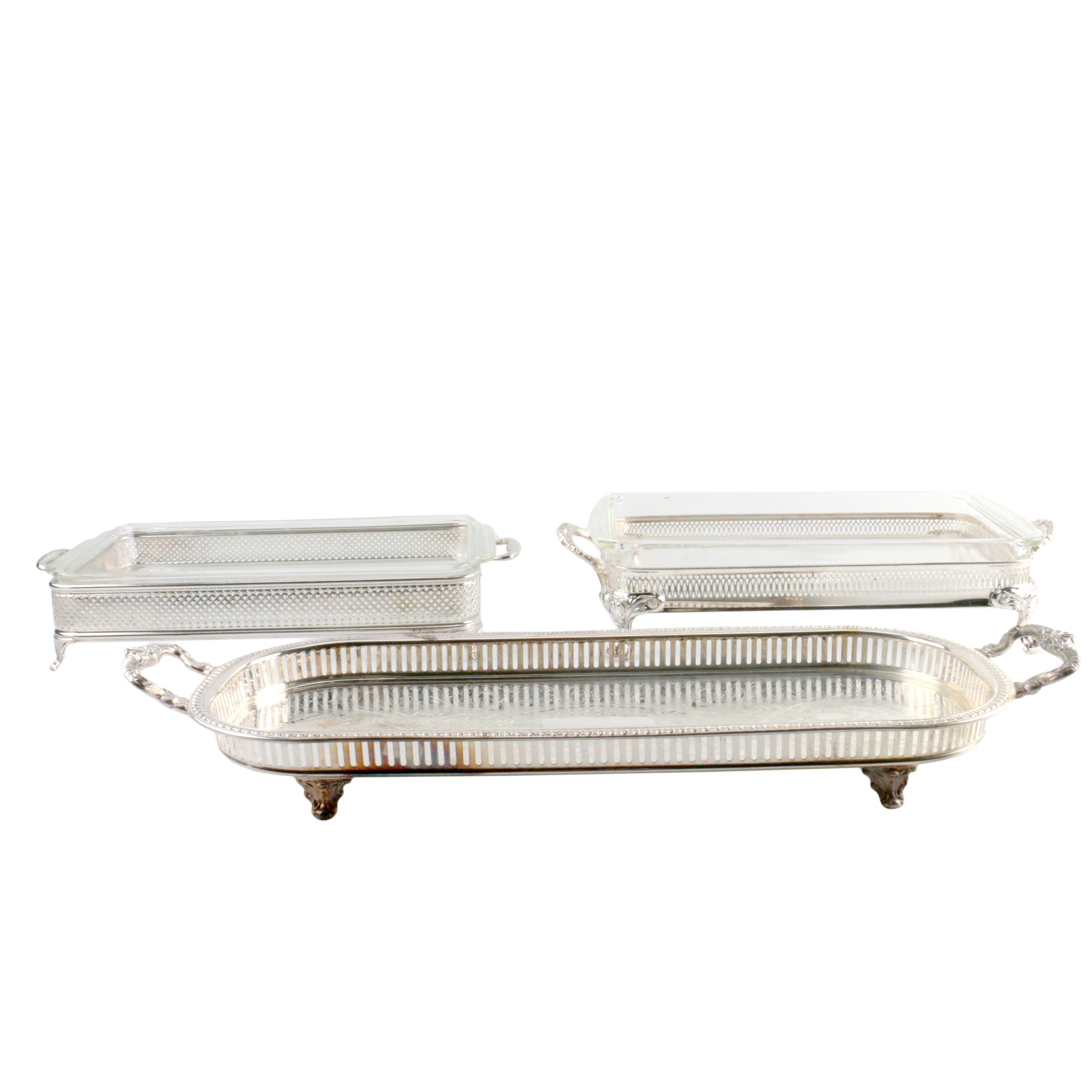 Silver Plate Buffet Servers with Glass Dishes