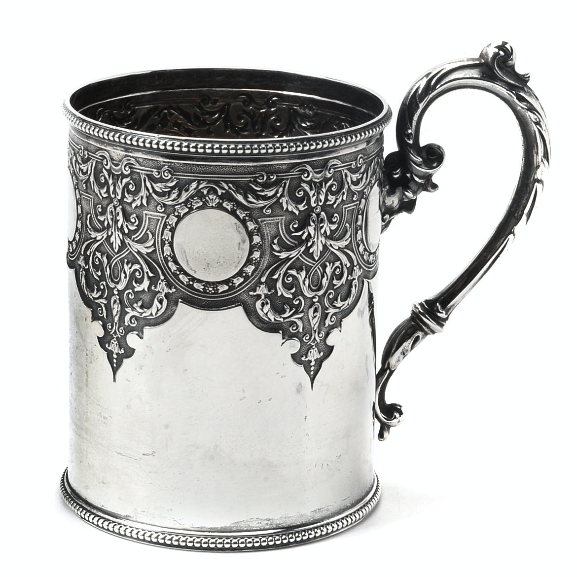 Circa 1866 Martin, Hall & Co. Sterling Silver Christening Mug with Leather Case