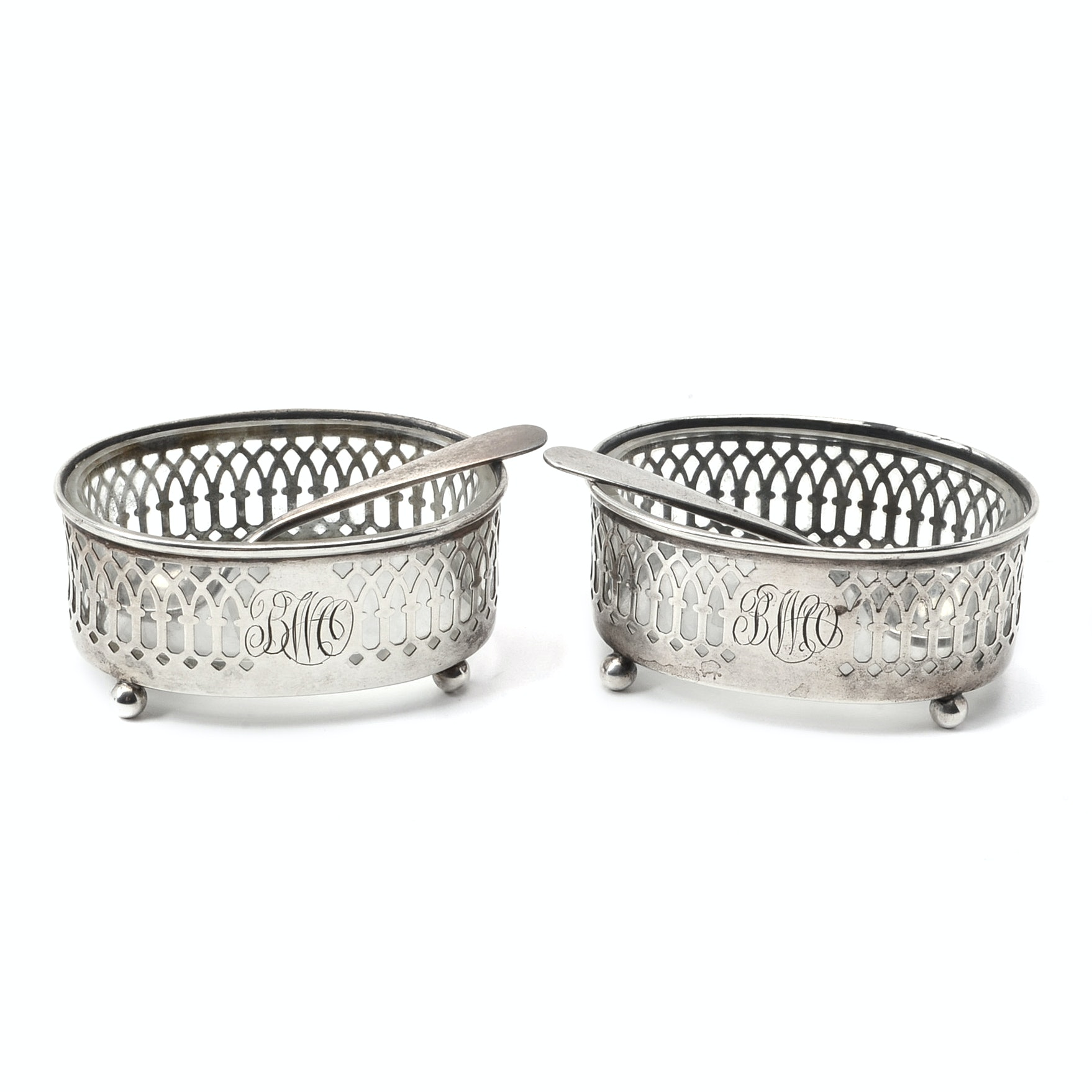 Pair of Henckel Sterling Silver Cellars with Glass Inserts