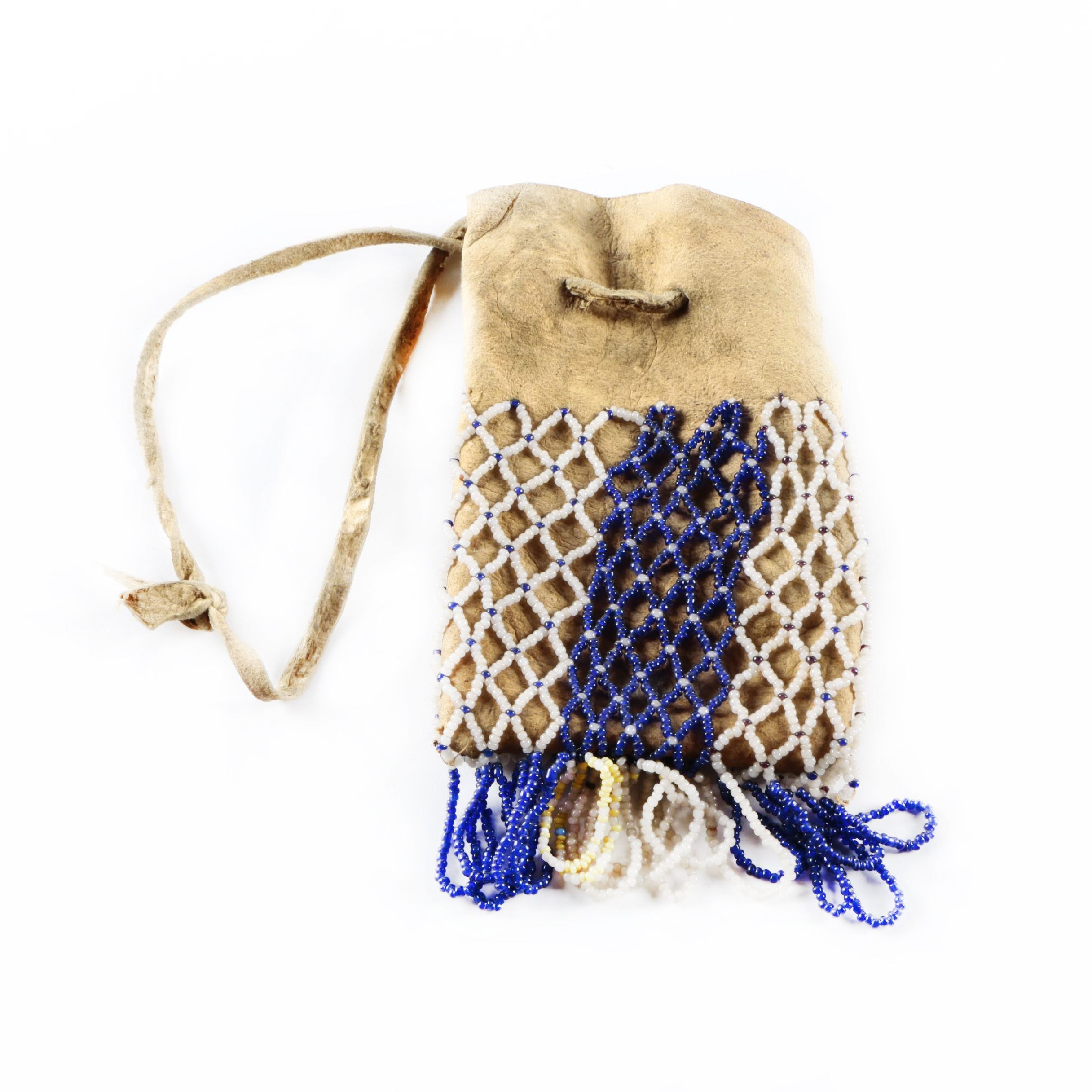 Vintage Native American Style Suede Beaded Pouch