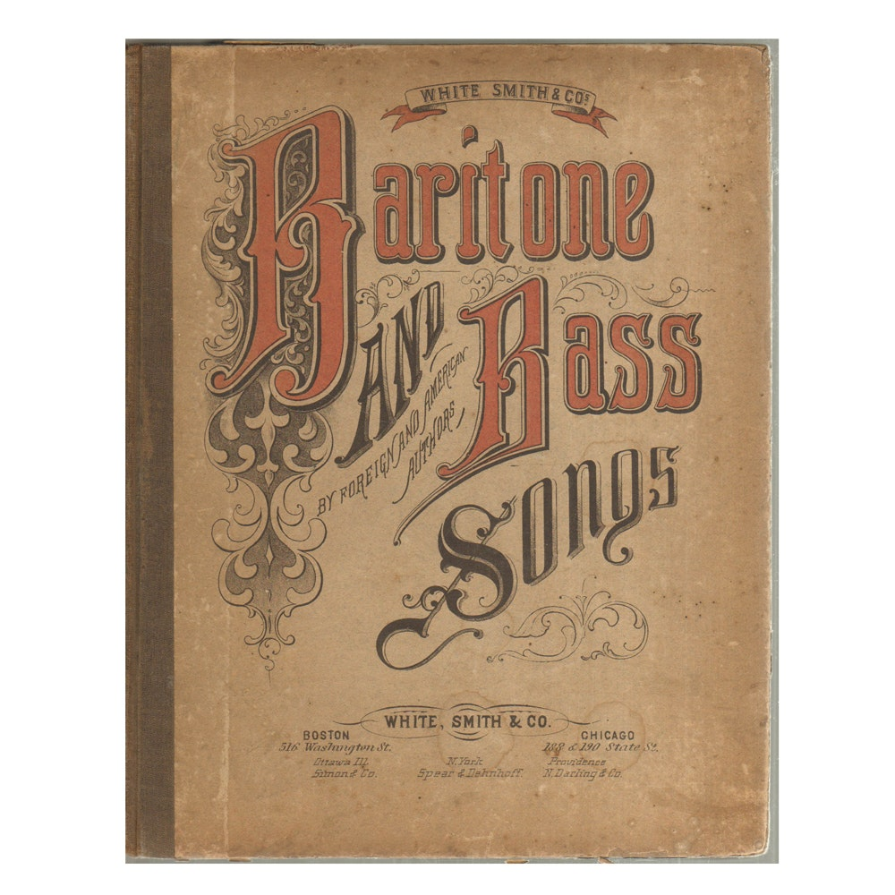"1883 Antique Edition ""Baritone & Bass Songs"" by C. A. White et al"