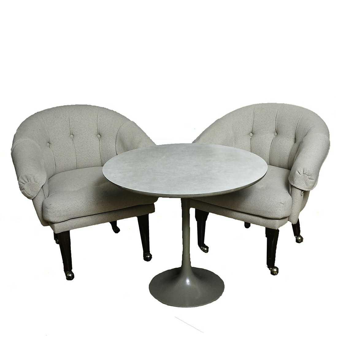 Mid Century Modern Rolling Club Chairs and Tulip Style Table