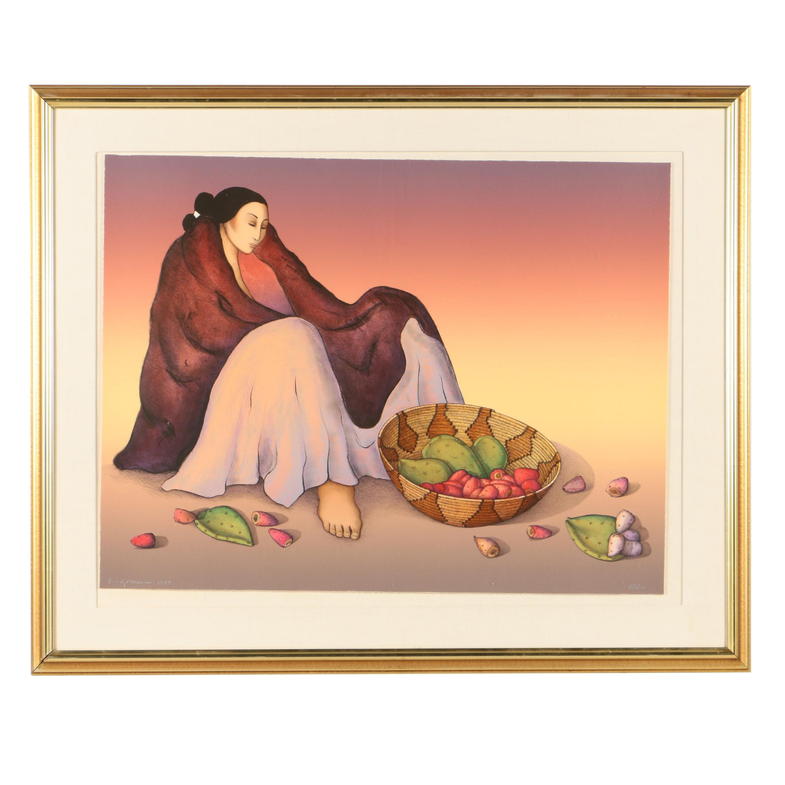 """R.C. Gorman Limited Edition Lithograph Print """"Prickly Pear"""""""