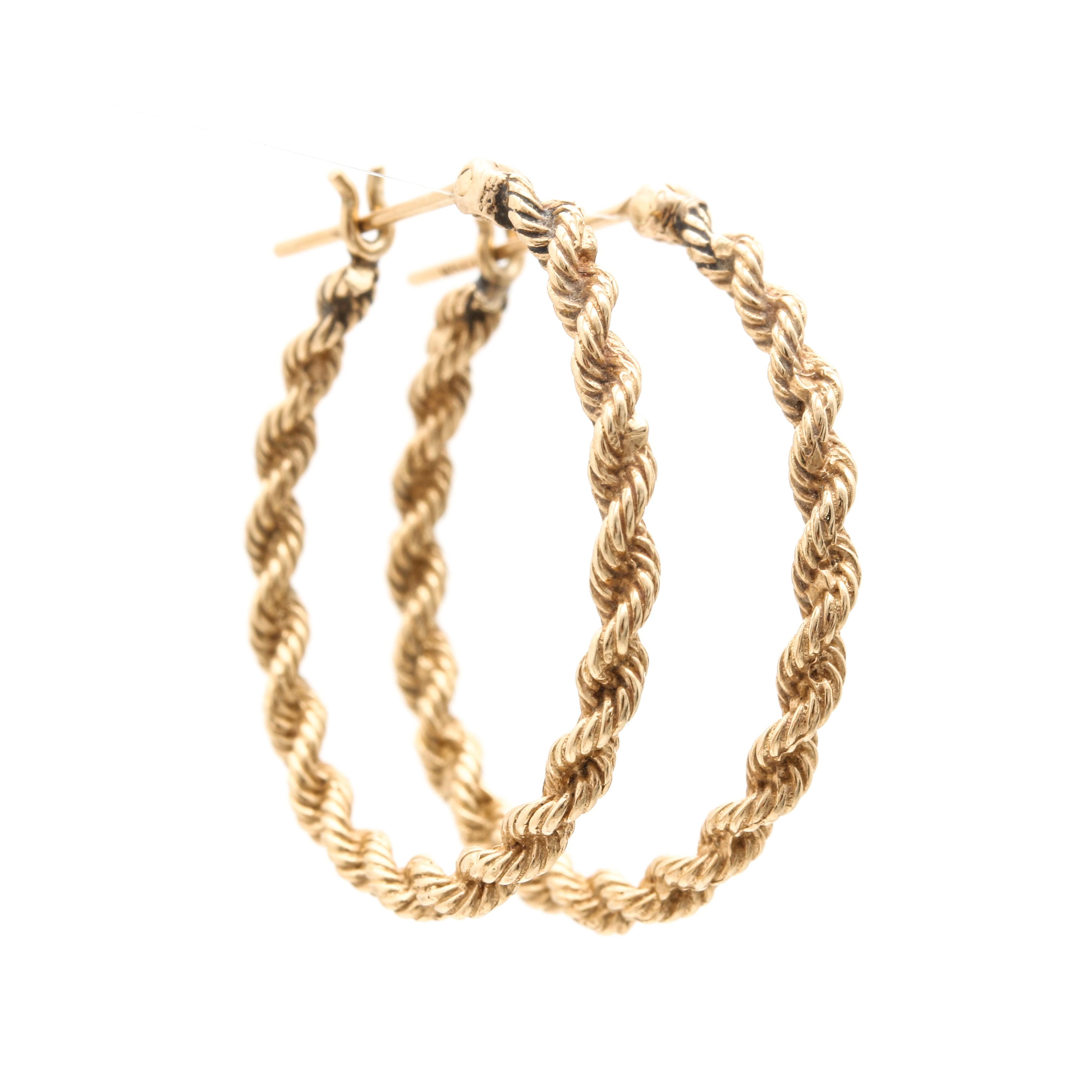 14K Yellow Gold Twist Hoop Earrings
