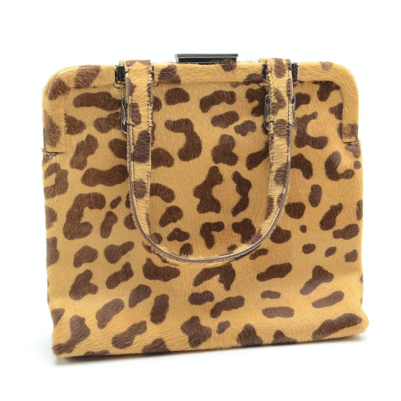 Prada Leopard Print Calfhair Handbag