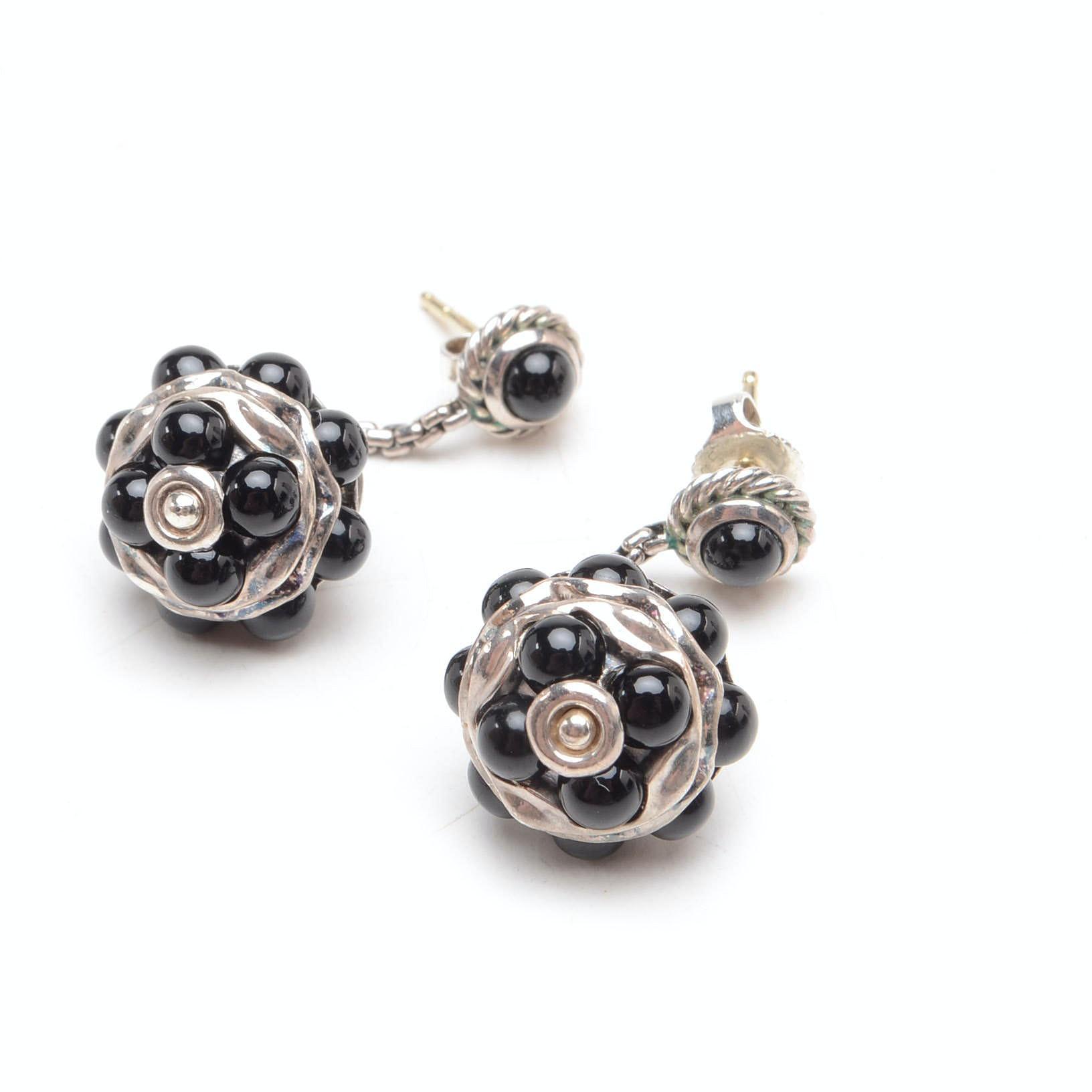 David Yurman Diamond, Onyx, and Sterling Silver Earrings