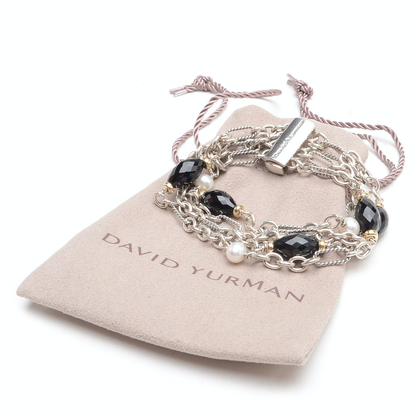 David Yurman Sterling Silver, Onyx and Pearl Bracelet
