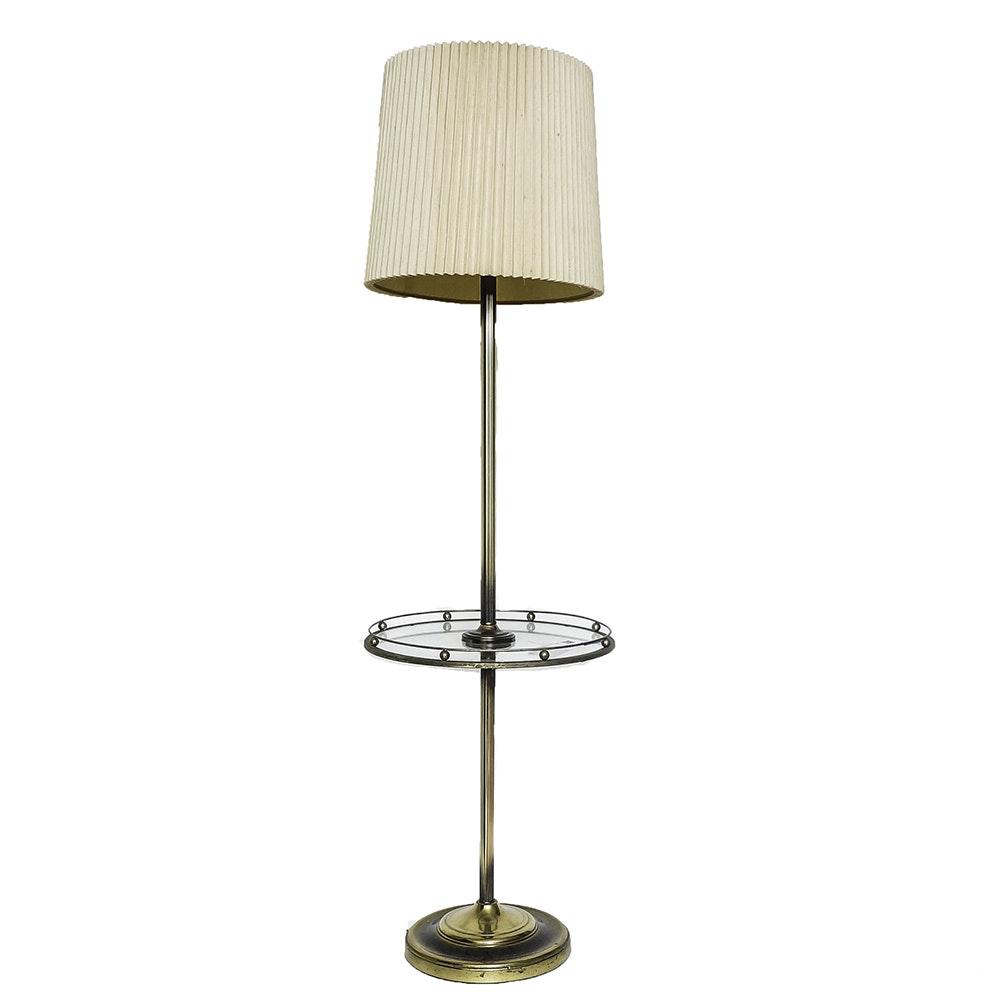 Vintage Mid-Century Brass Tone Tray Table Floor Lamp