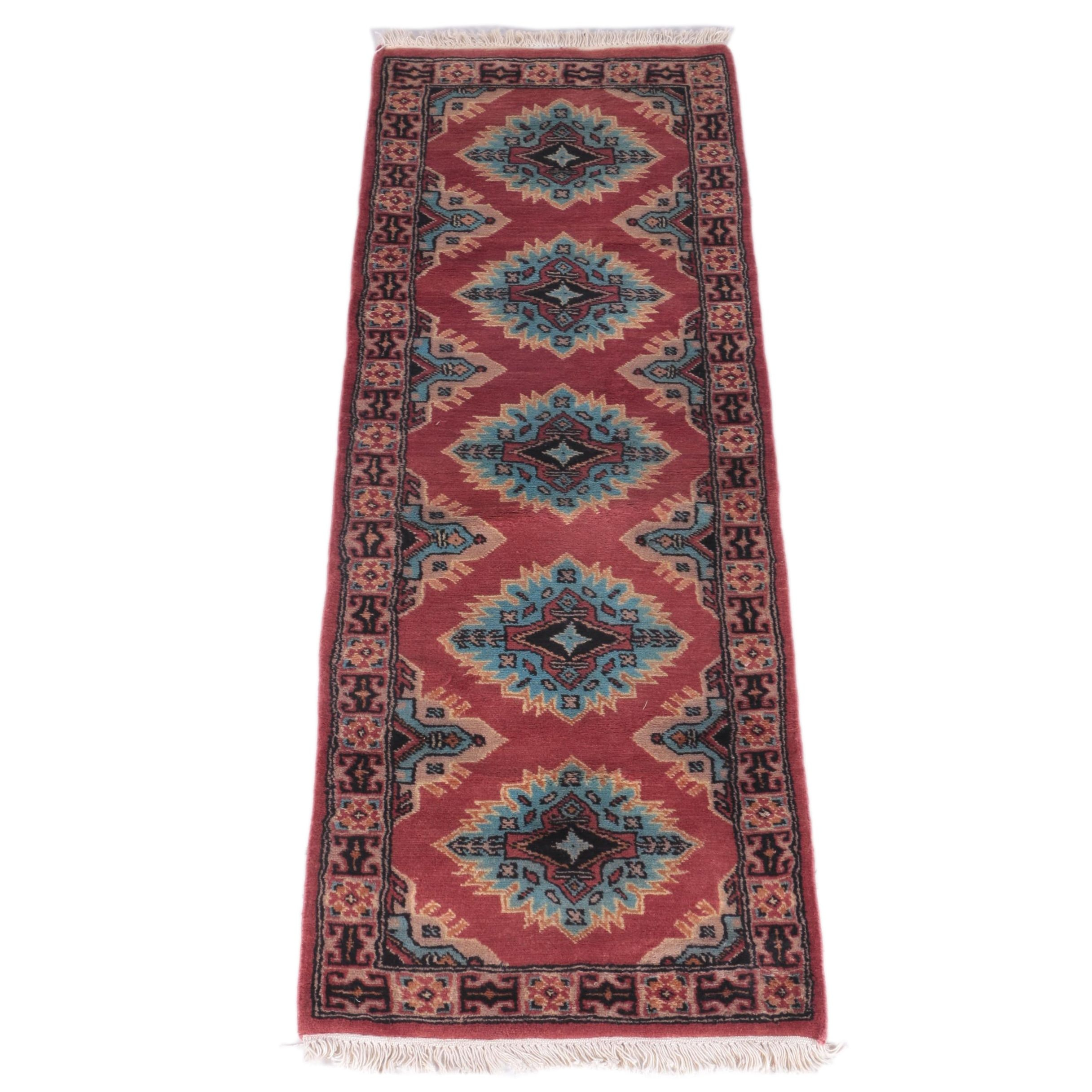 Hand-Knotted Pakistani-Kazak Carpet Runner