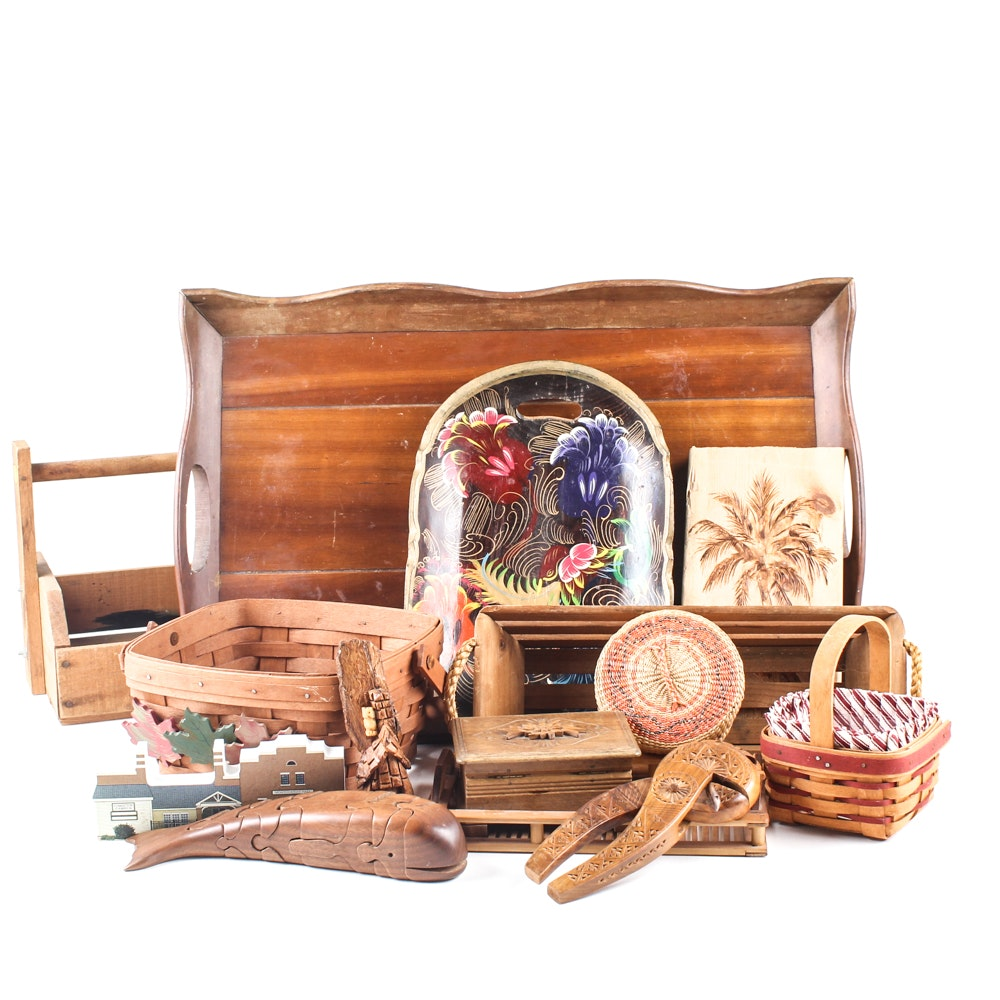 Decorative Baskets and Woodenware Including Longaberger