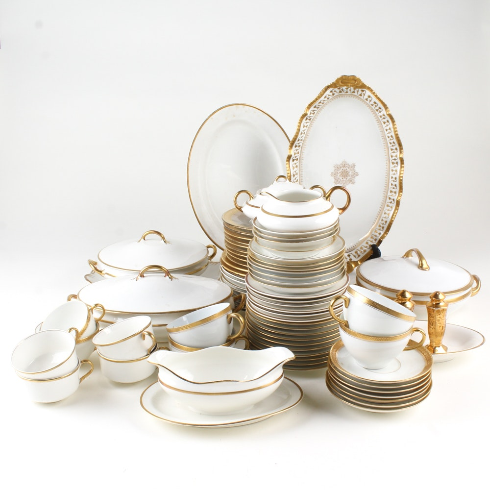 Gold Rimmed White Dinnerware Featuring Limoges