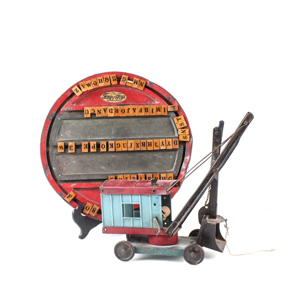 Vintage Metal Toys Featuring Structo Steam Shovel