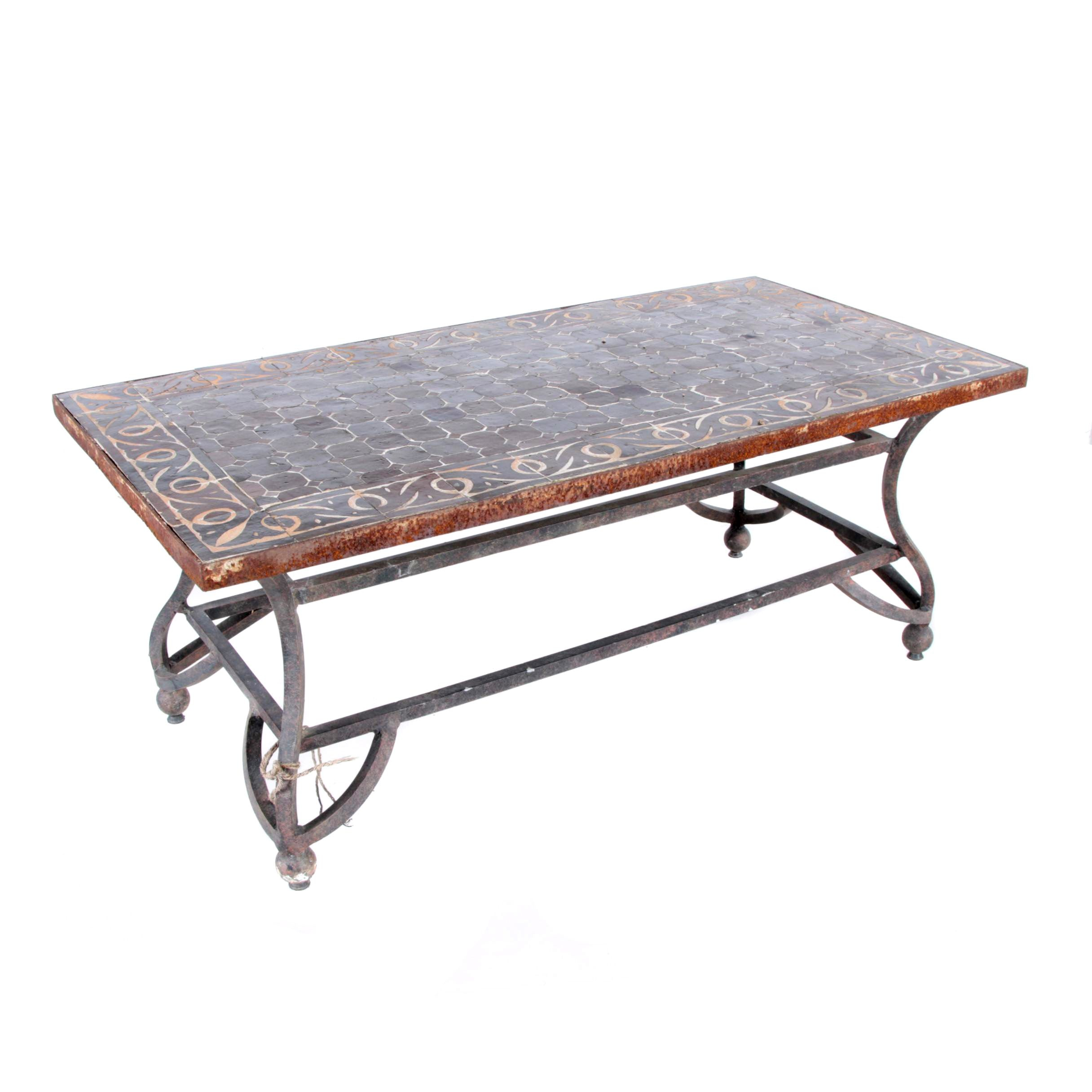 Wrought Iron Patio Table With Ceramic Tile Top Ebth