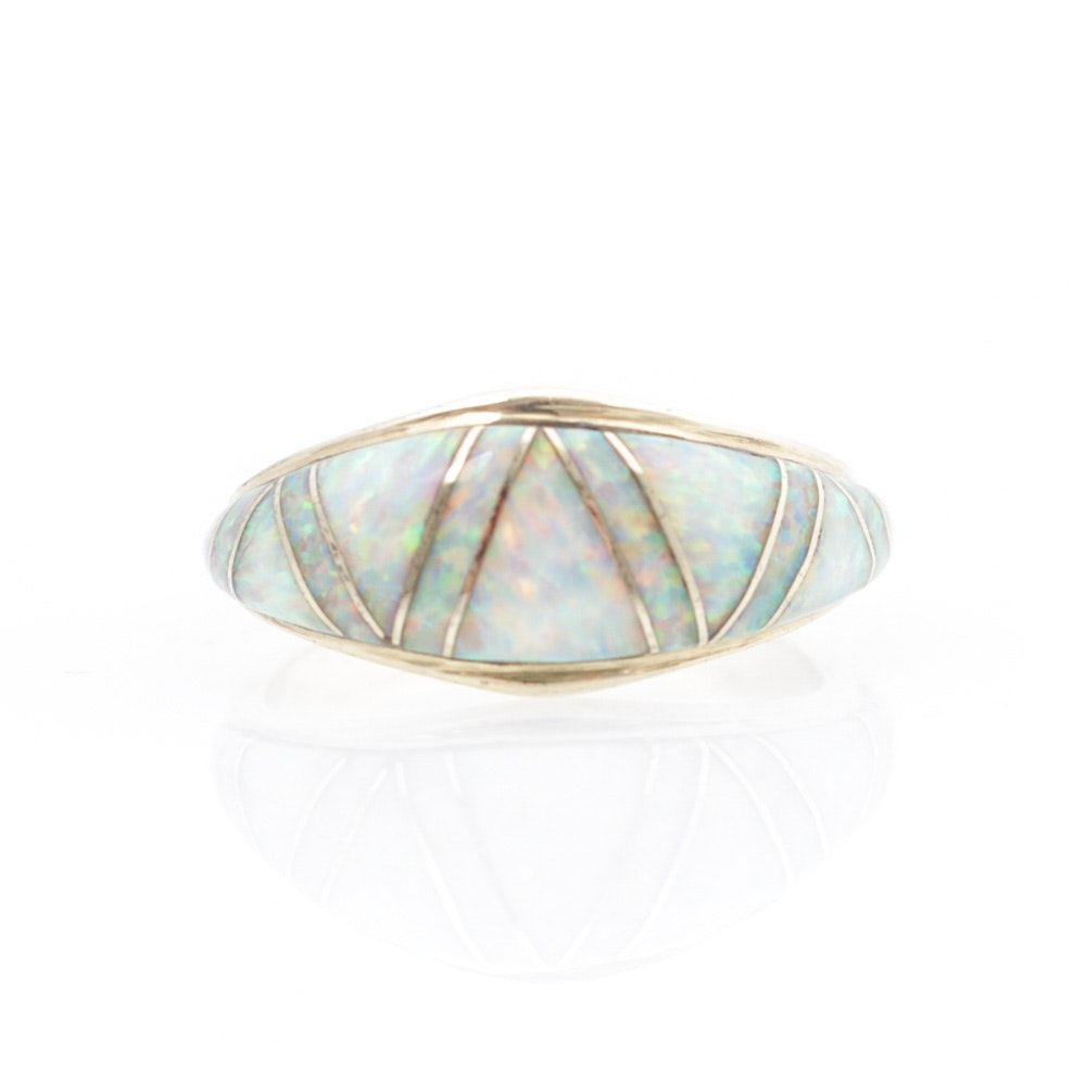 14K Yellow Gold Opal Inlay Ring