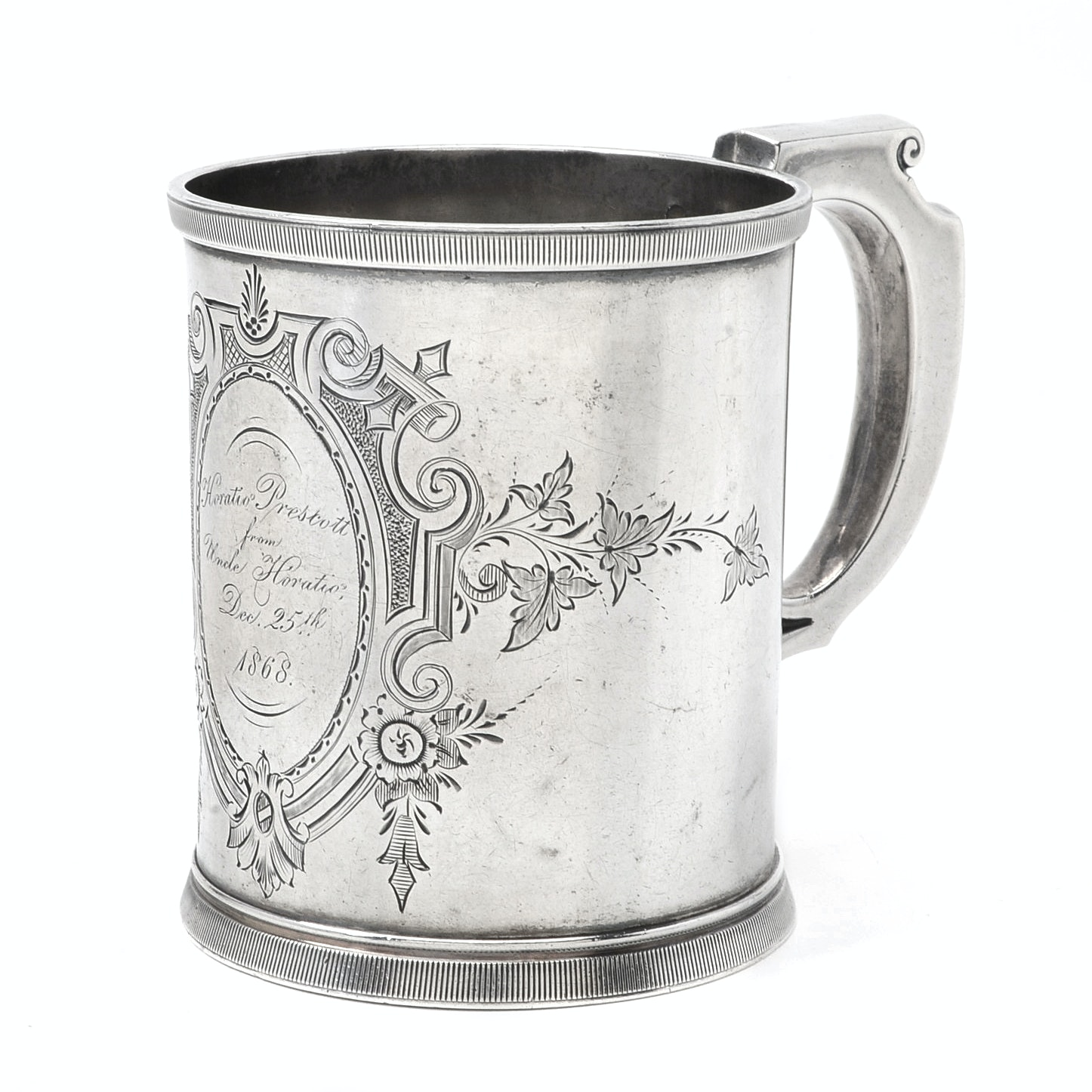 Antique Wood & Hughes Sterling Silver Mug with Dated 1868 Christmas Inscription