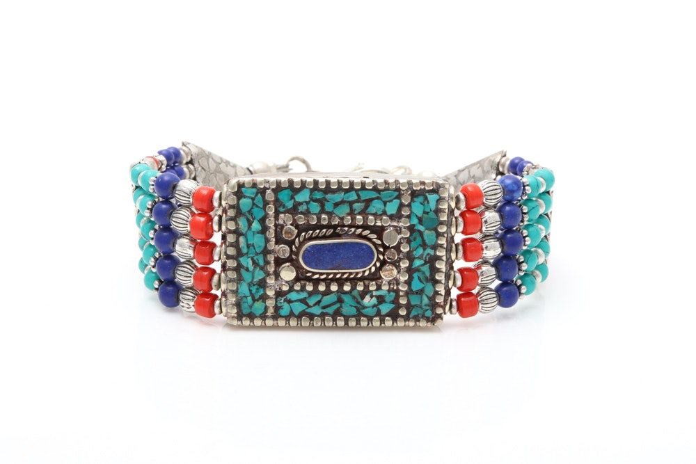 Tibetan Sterling Silver Turquoise Coral and Lapis Lazuli Bracelet