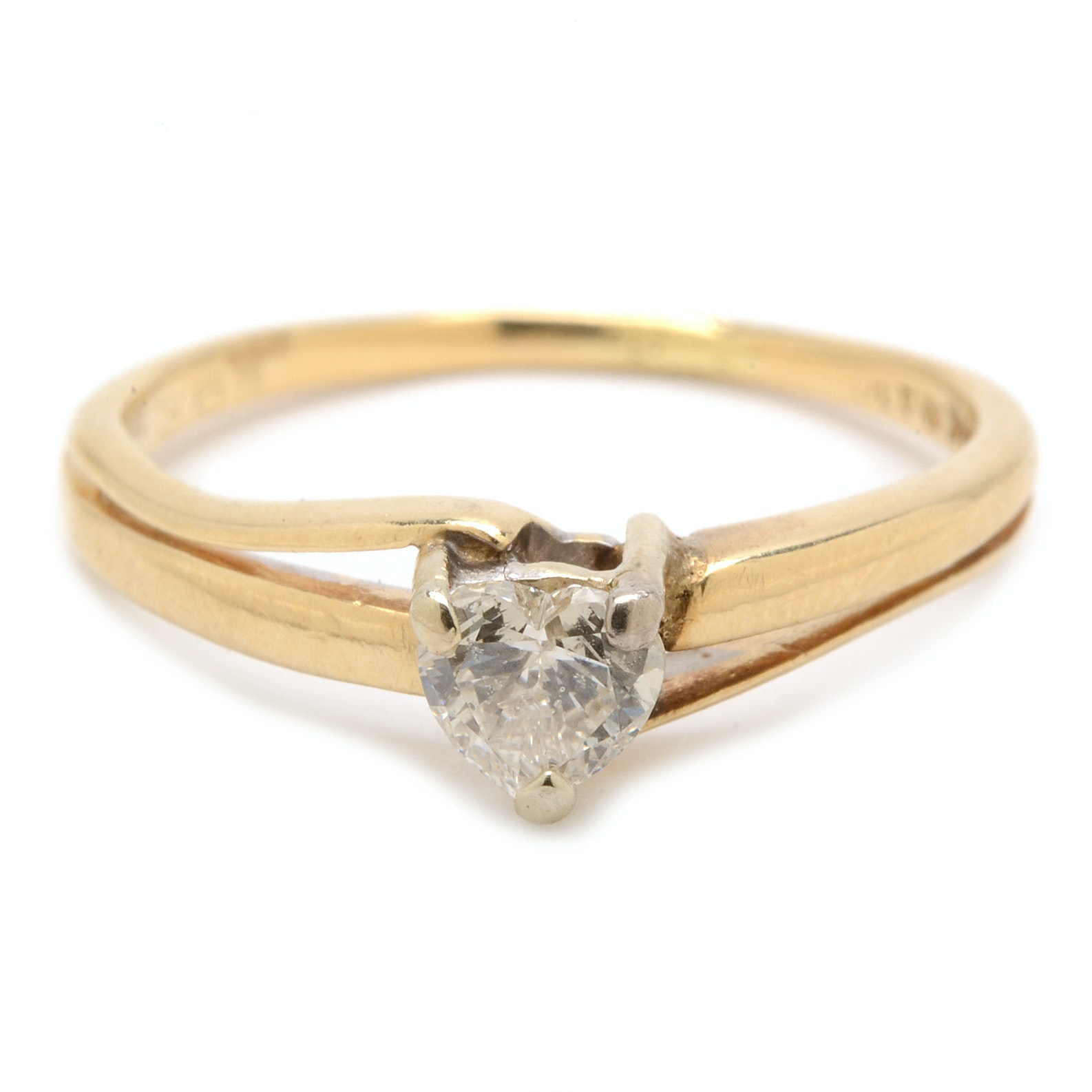 14K Yellow Gold Solitaire Heart-Cut Diamond Ring