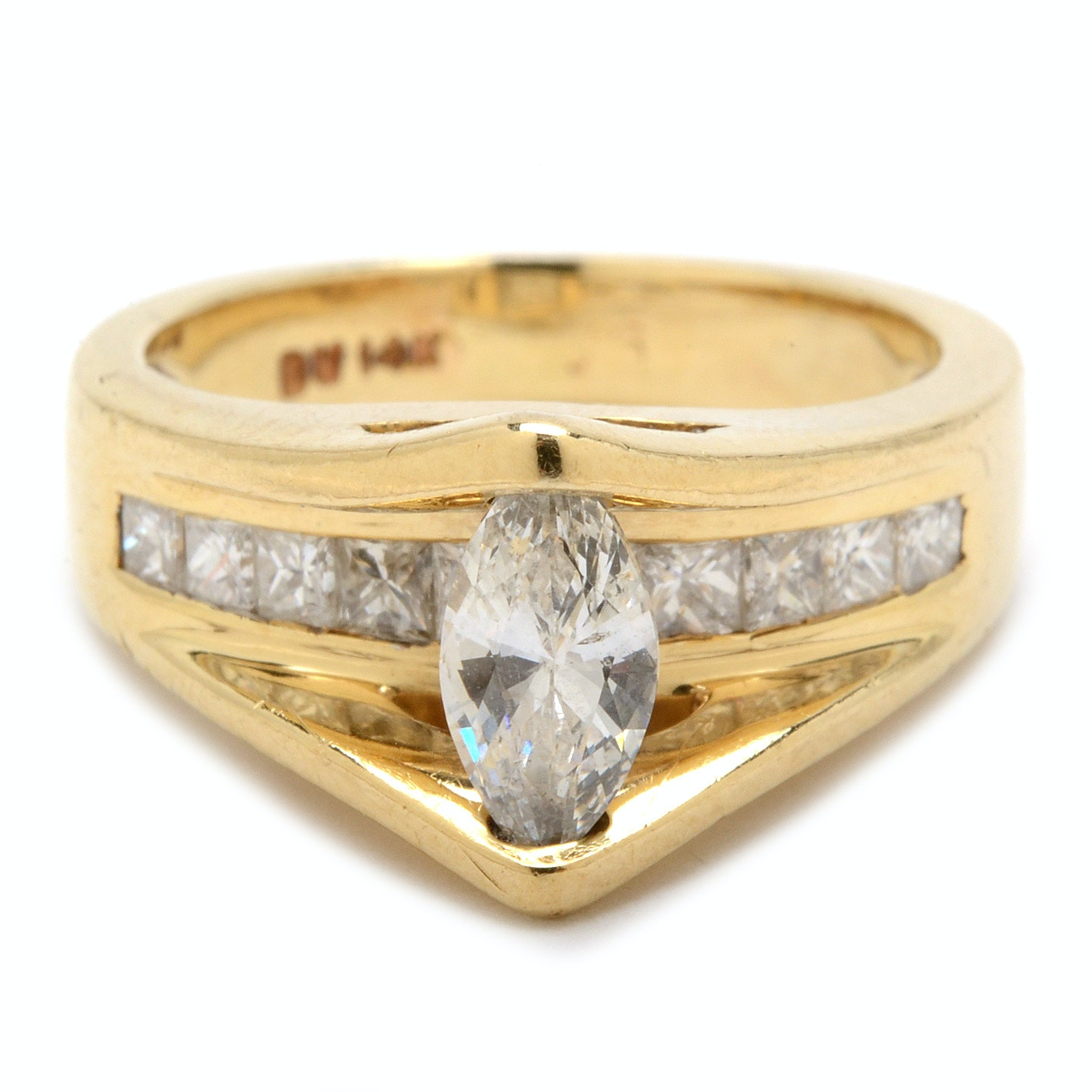 14K Yellow Gold 1.03 CTW Floating Diamond Ring