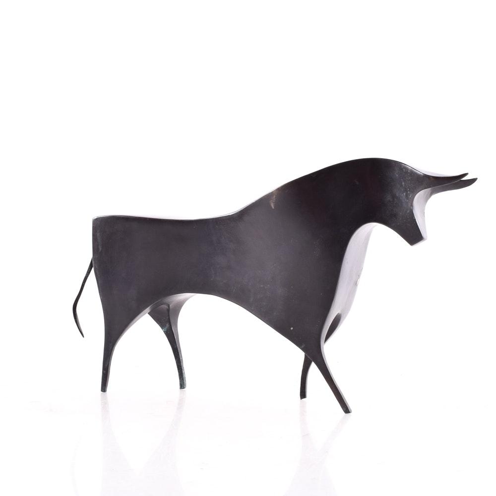 Stylistic Metal Bull Sculpture
