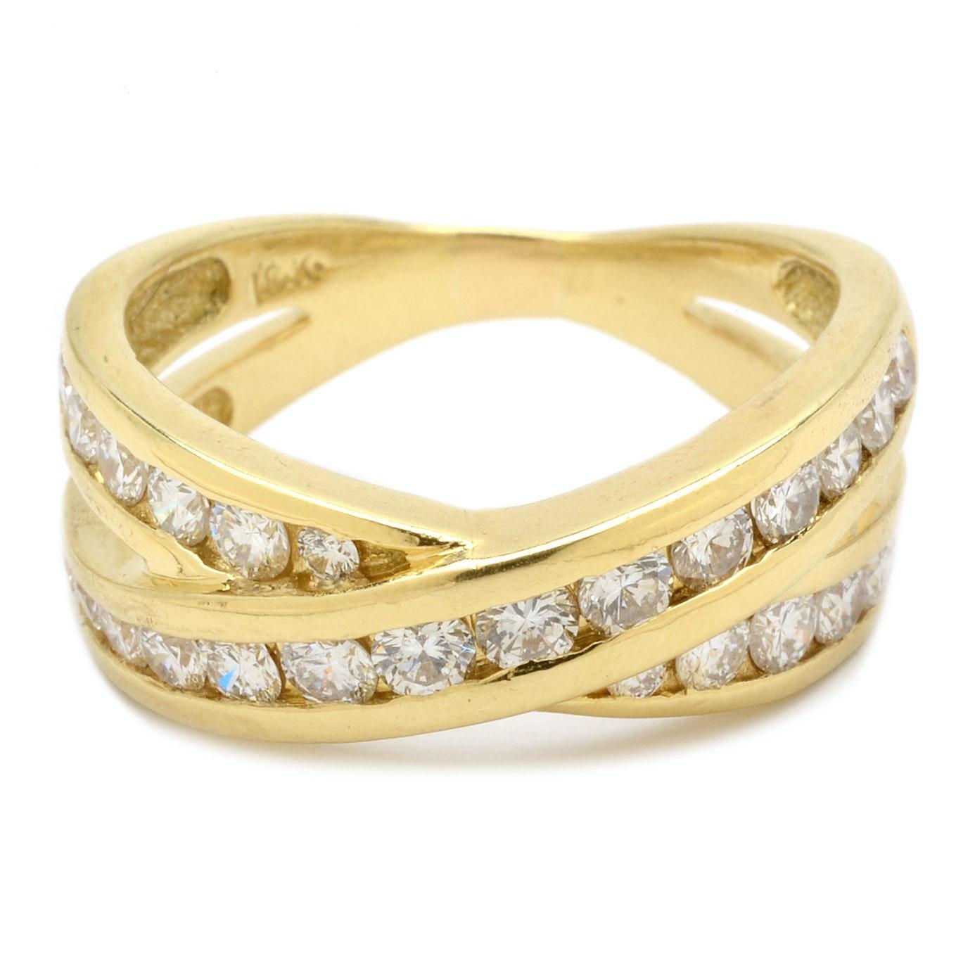 18K Yellow Gold Channel Set Diamond Ring