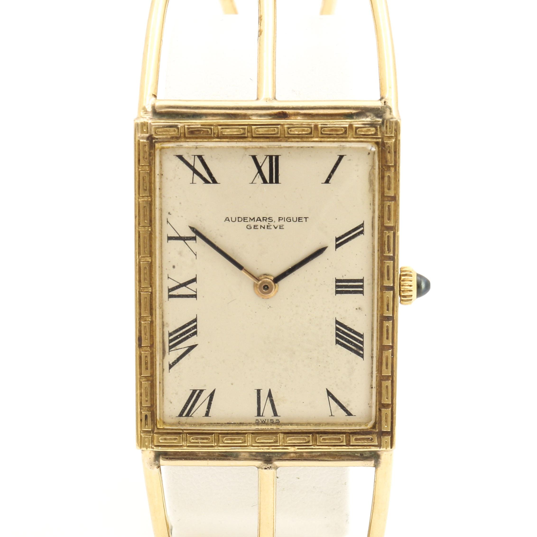 Audemars Piguet 18K and 14K Yellow Gold Sapphire Crown Cuff Wristwatch