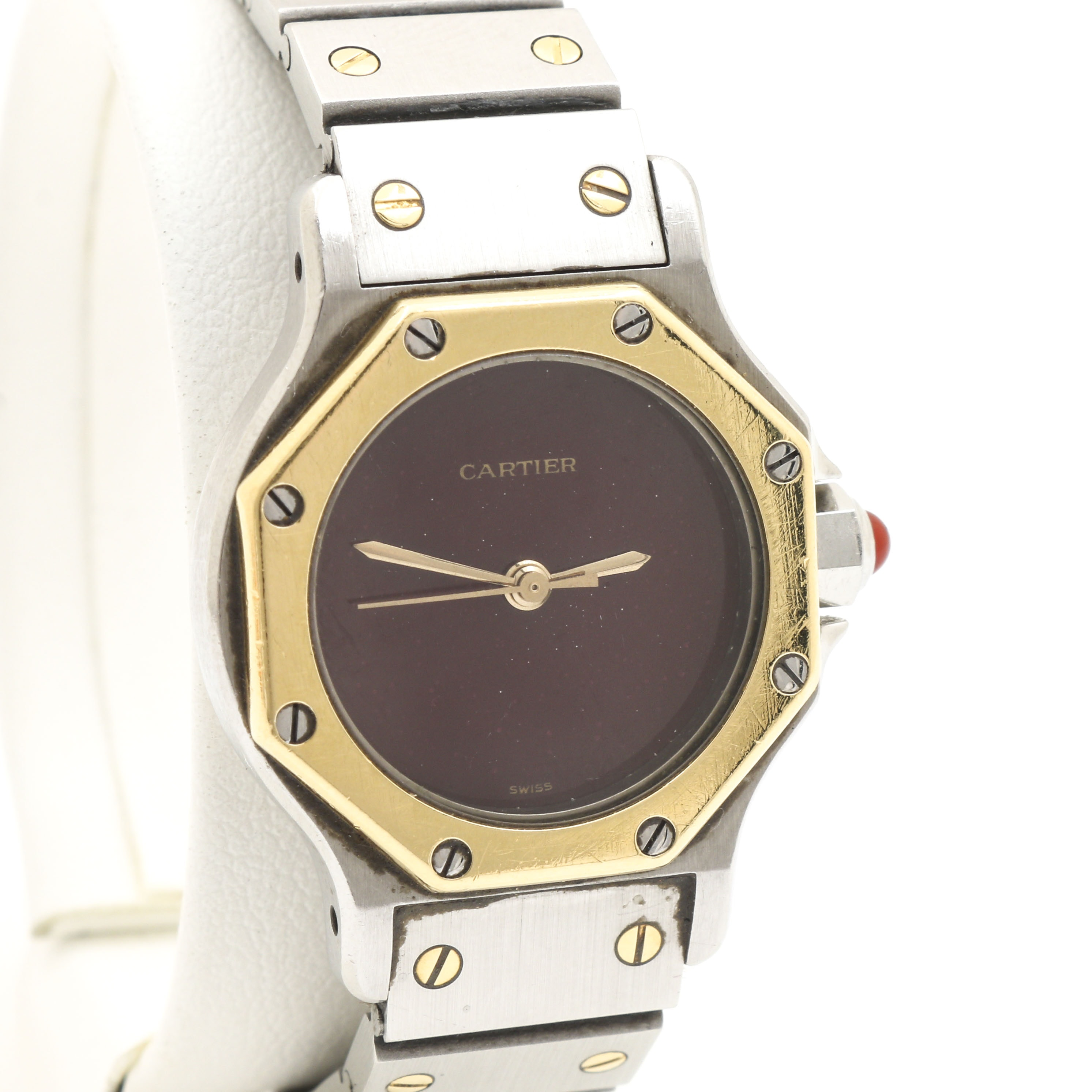 Cartier 18K Yellow Gold, Stainless Steel, and Carnelian Crown Wristwatch