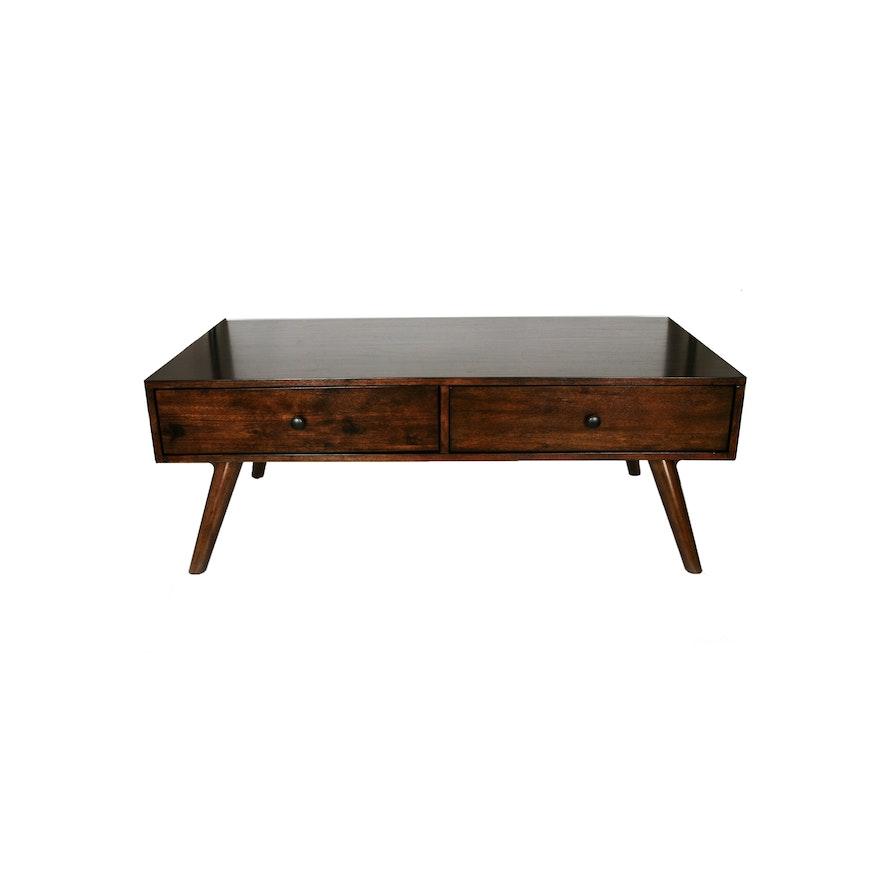 Mid Century Modern Style Walnut Coffee Table Ebth