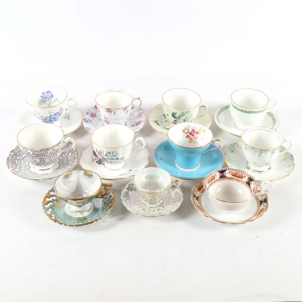 Assorted Bone China Tea Cups with Saucers