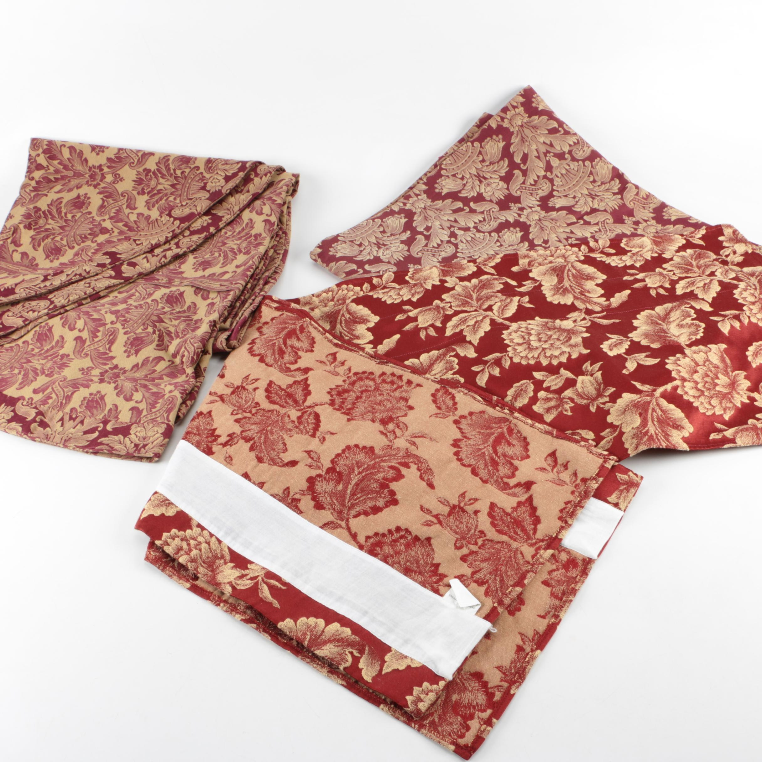 Red and Gold Brocade Table Linens