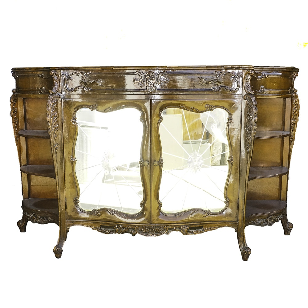 Louis XV Style Walnut Cabinet with Mirrored Doors