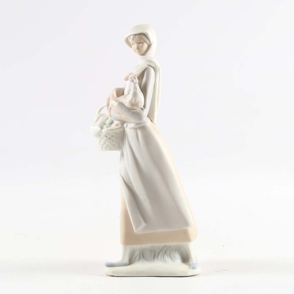 "Vintage Lladro ""Girl with Cockerel"" Figurine"