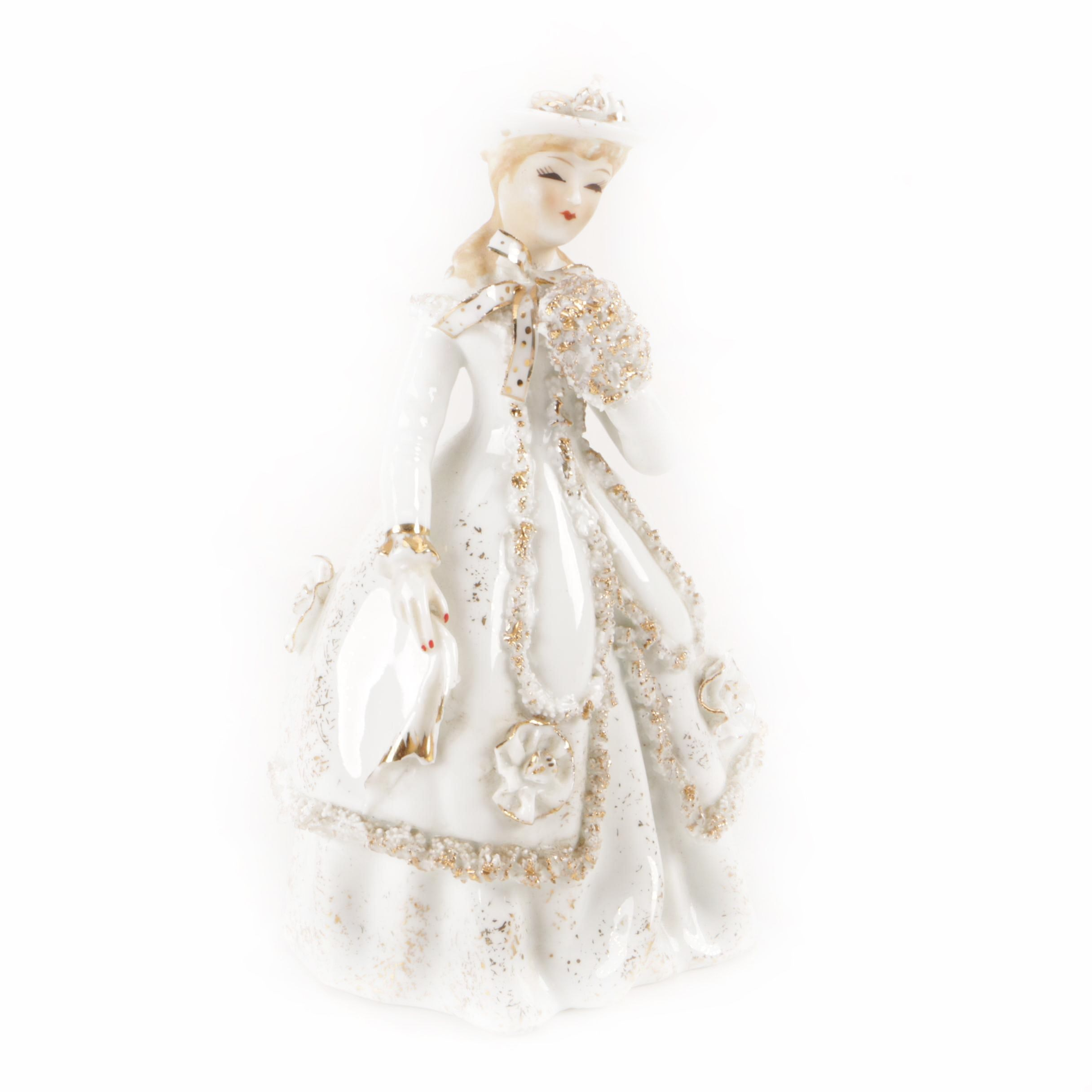Lefton Hand-Painted Porcelain Figurine with Dress and Hat
