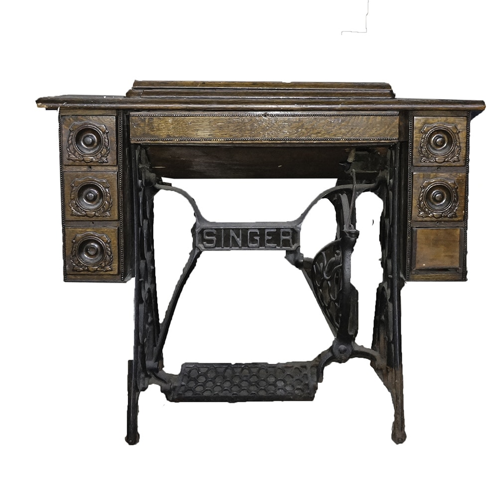 Antique Singer Sewing Machine Table ...