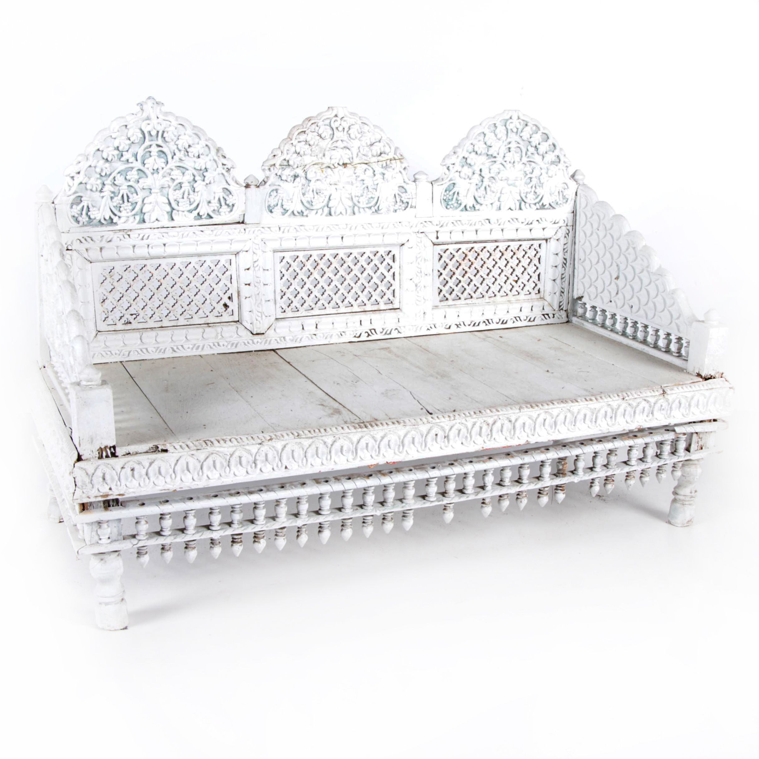 Decorative Painted Wood Bench