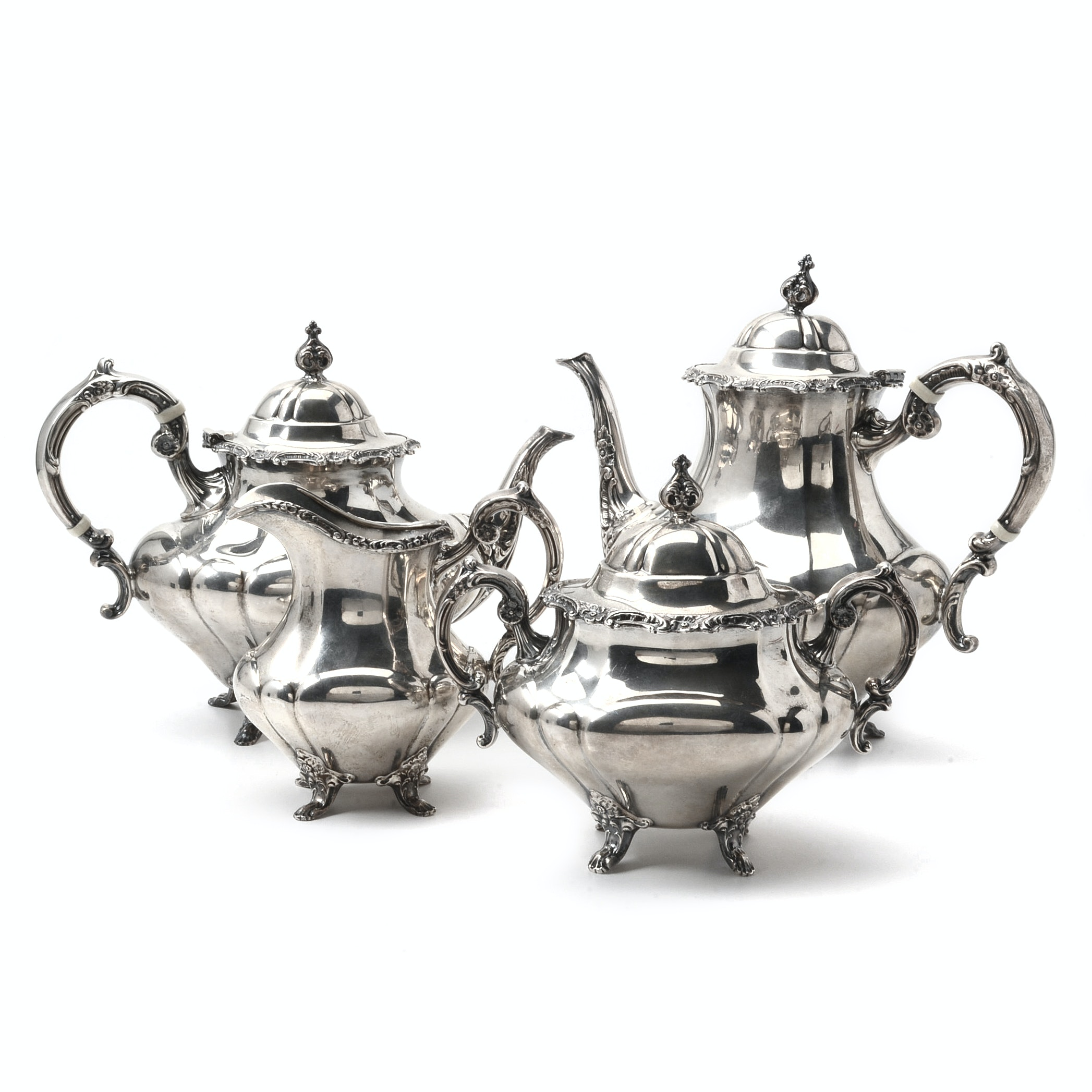 "Reed & Barton Sterling Silver Tea and Coffee Service in ""Georgian Rose"""
