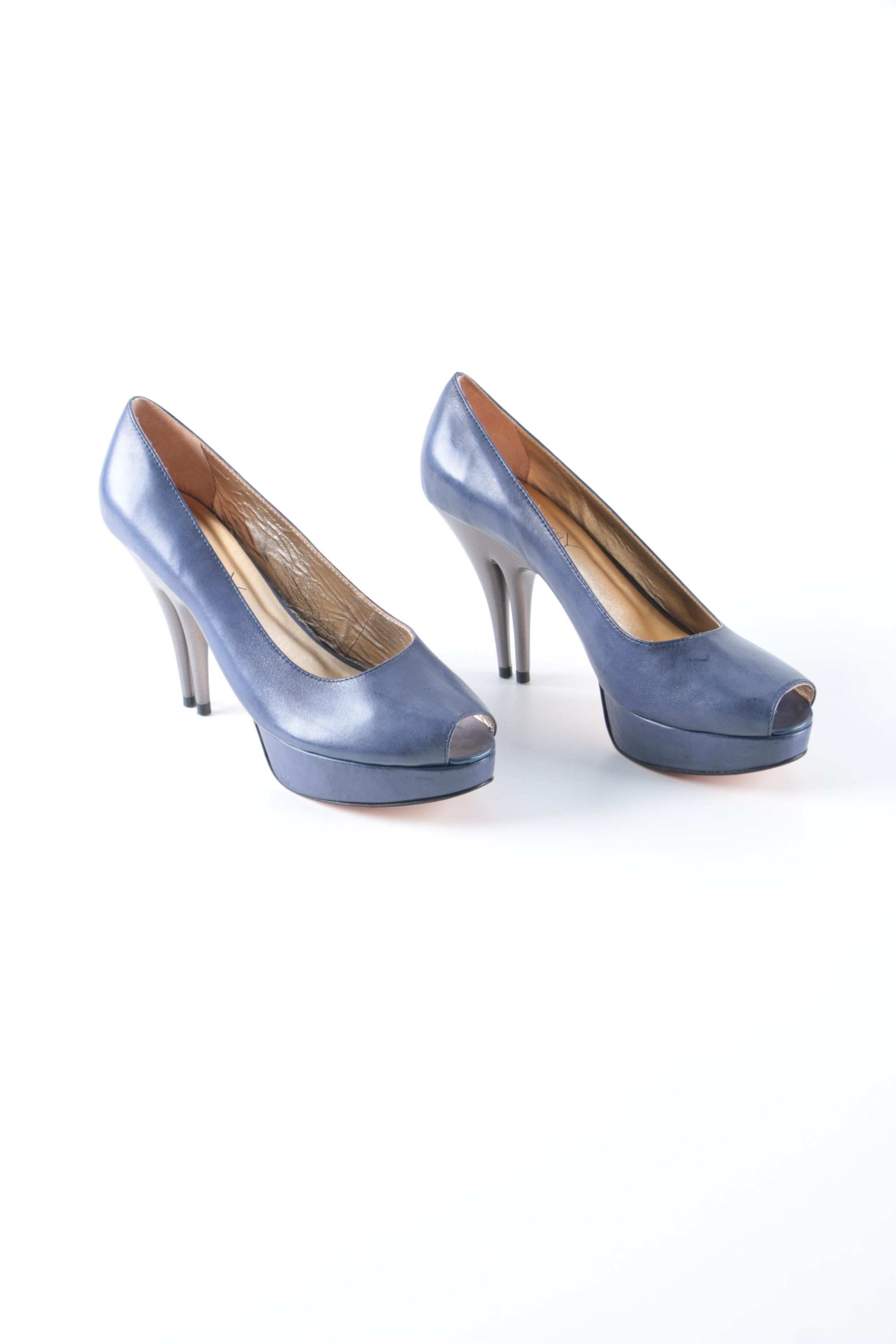 Christopher Coy Collection Prototype Heels in Blueberry Leather