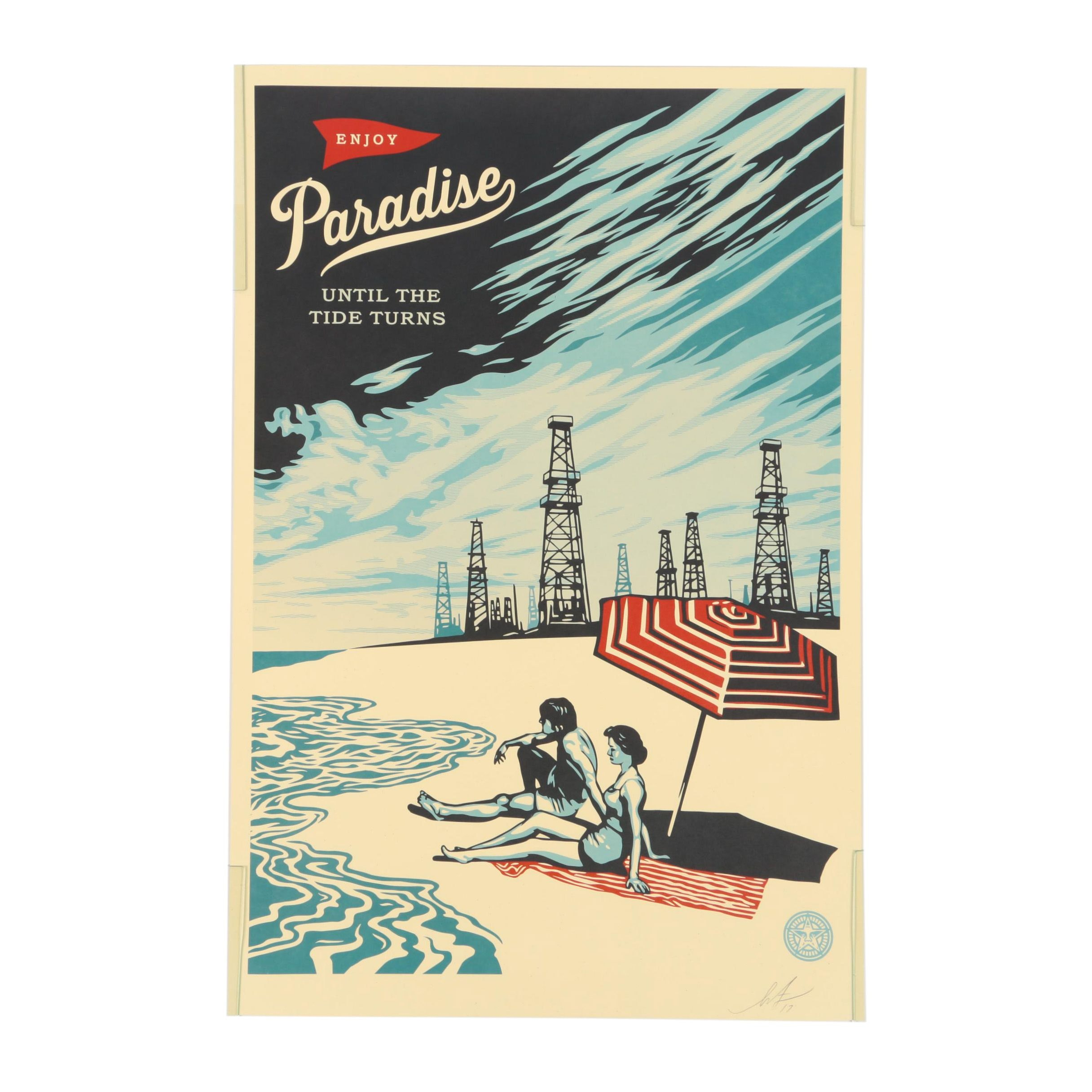 "Shepard Fairey Offset Print ""Paradise Turns"""